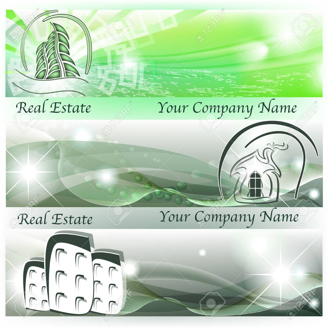 Banners with abstract houses and skyscrapers in green color Stock Vector - 17466102