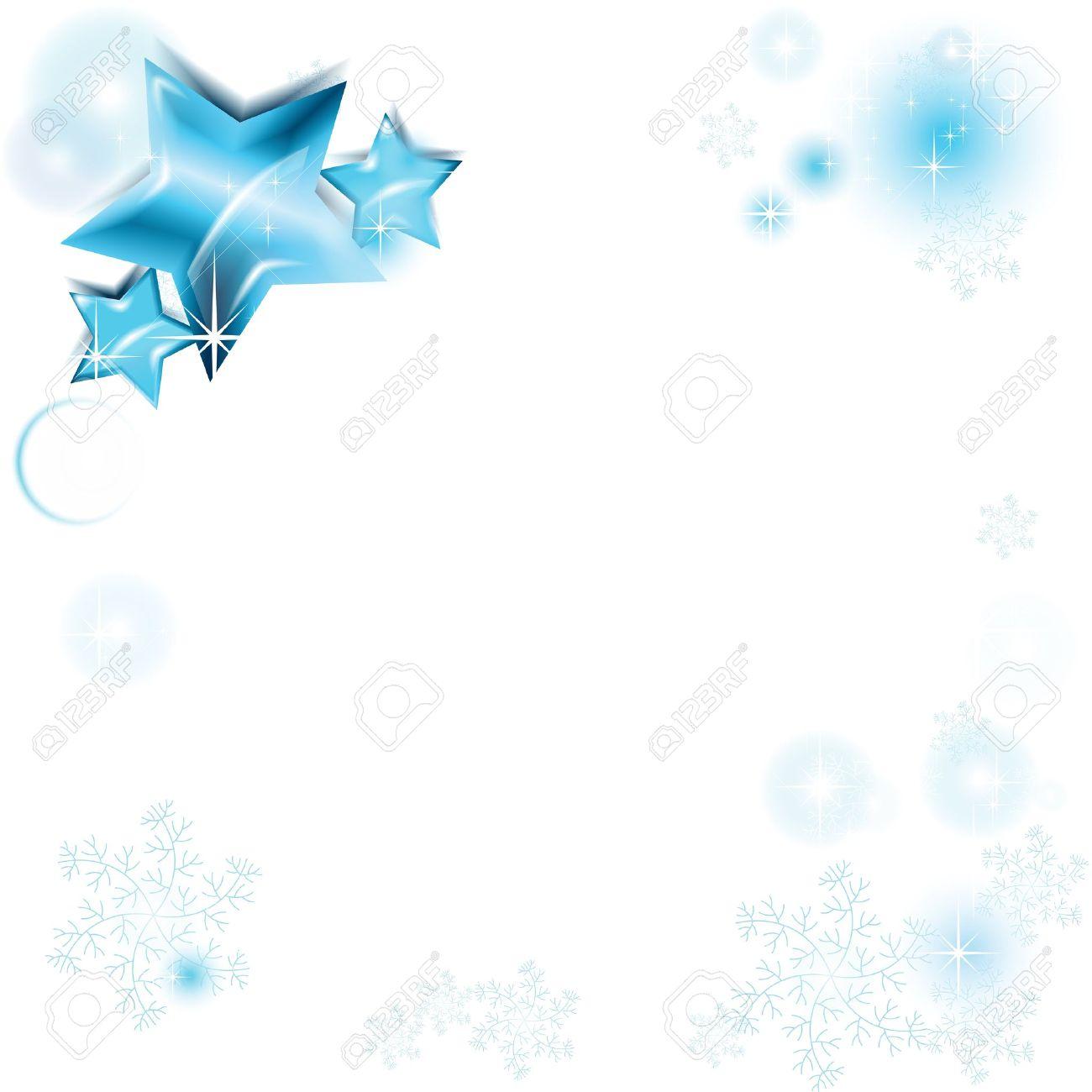 Telaio con brillanti stelle blu e fiocchi di neve Archivio Fotografico - 18296210