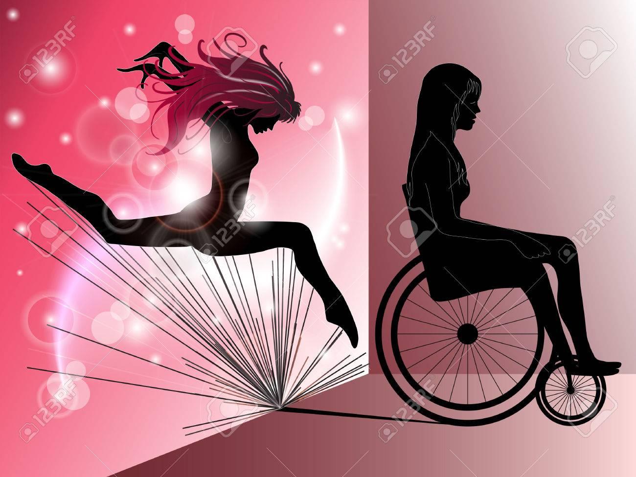 Triste donna in sedia a rotelle con salto ragazza come un'ombra Archivio Fotografico - 24774523