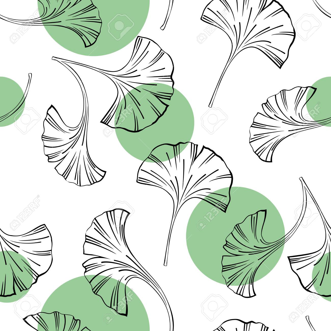 Vector seamless background with Ginkgo biloba leaves - 146127296