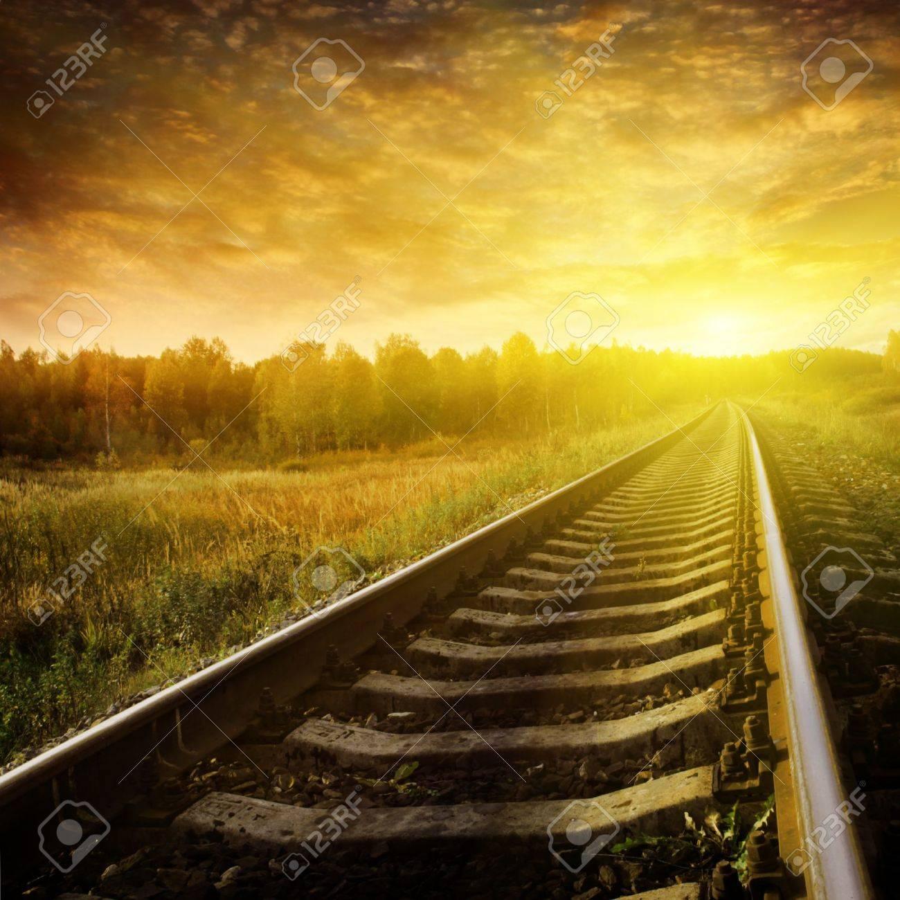 Railway at sunset. Stock Photo - 11646089