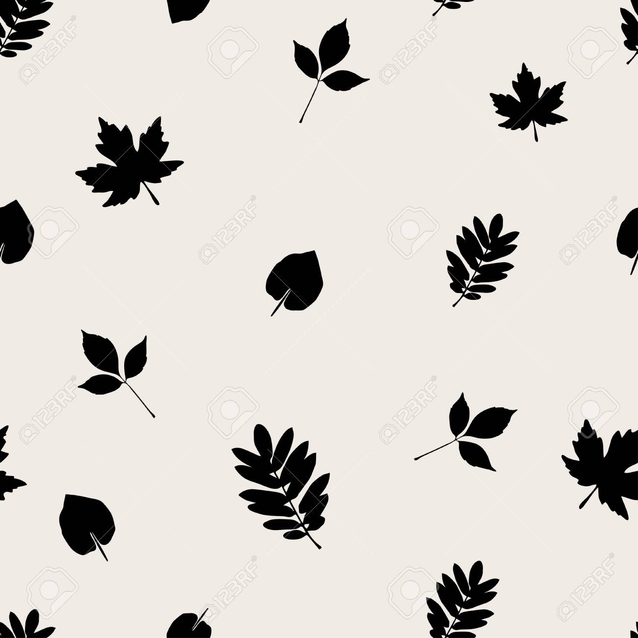 Simple Leaf Shape Seamless Pattern Autumn Simple Vector Background