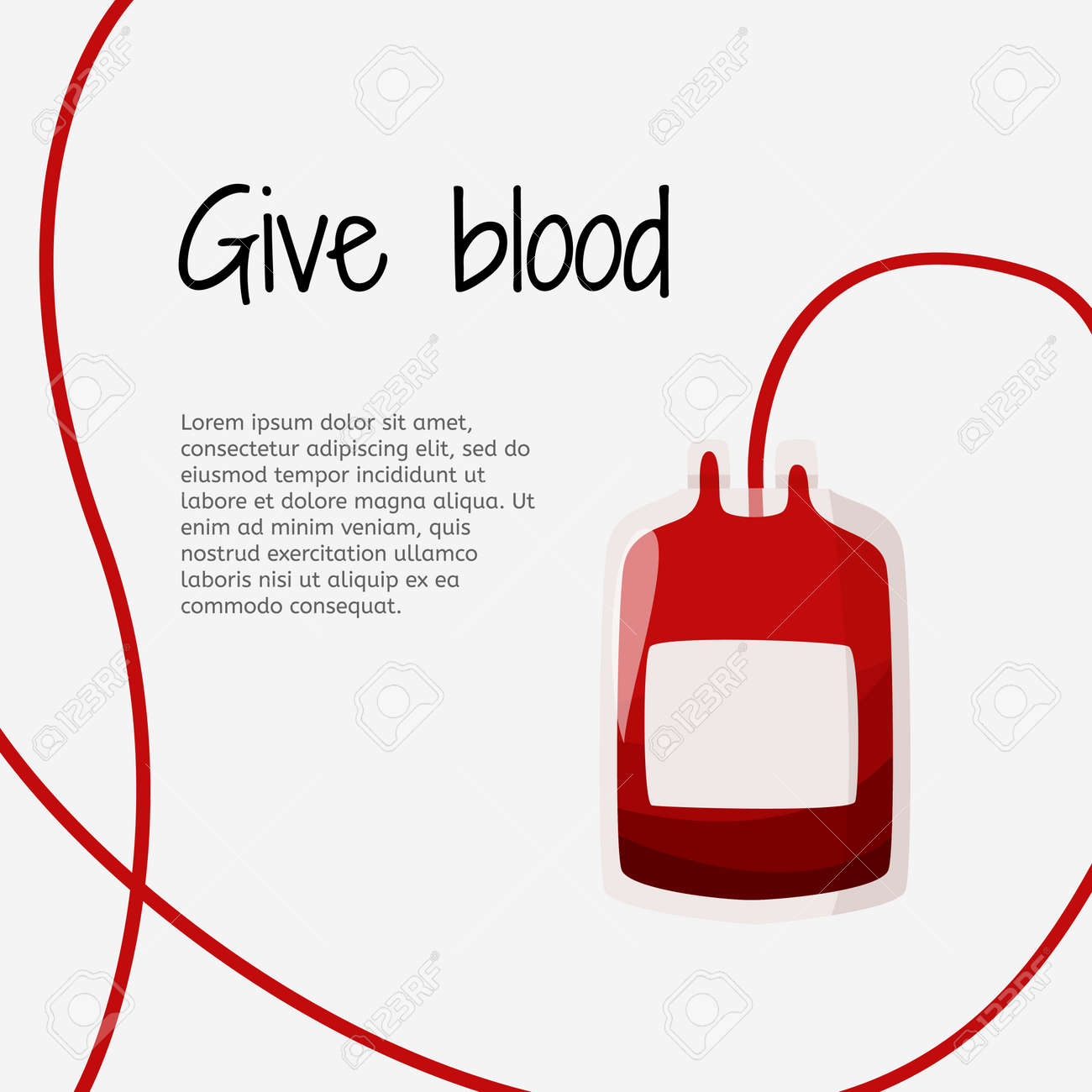 Blood donation graphic design template. Blood container illustration in medical artice. - 148605981