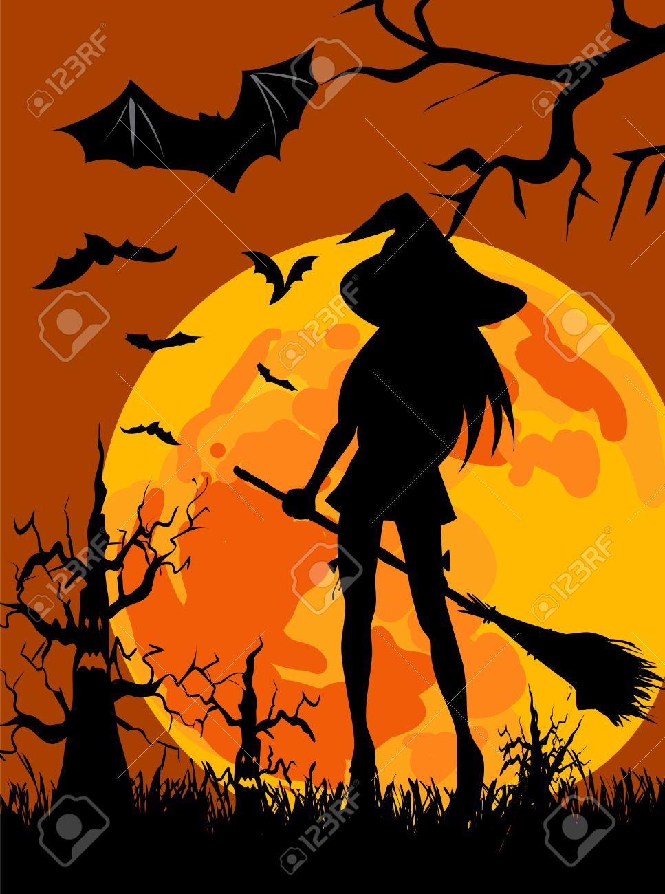 ハロウィーンのテーマの魔女 月 ハロウィーンの木のシルエット壁紙のイラスト素材 ベクタ Image