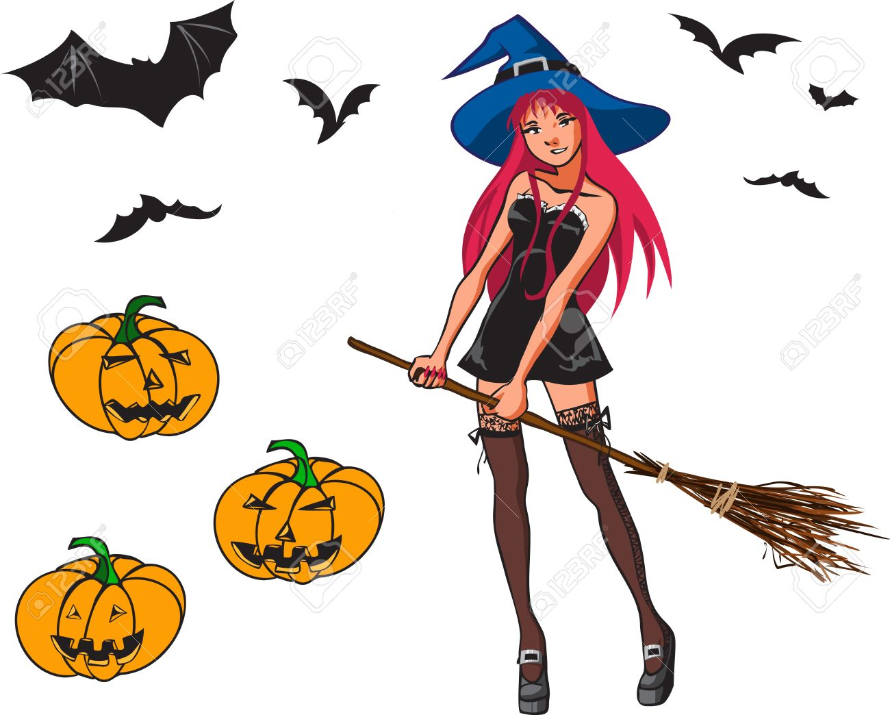 Halloween Colour Cartoon Collection With Young Pretty Witch With