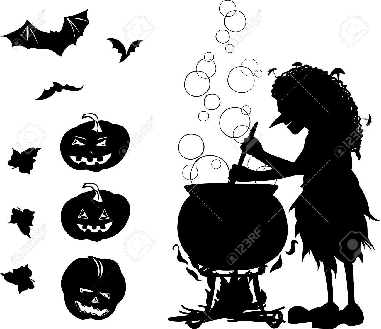 Foto de archivo , Halloween del negro de dibujos animados de un conjunto de colores con silueta de la vieja bruja que cocinar algo en su caldero,