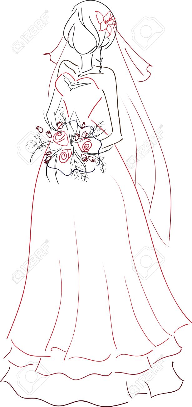 The Vector Image With The Young Bride Holding A Bouquet. Theme ...