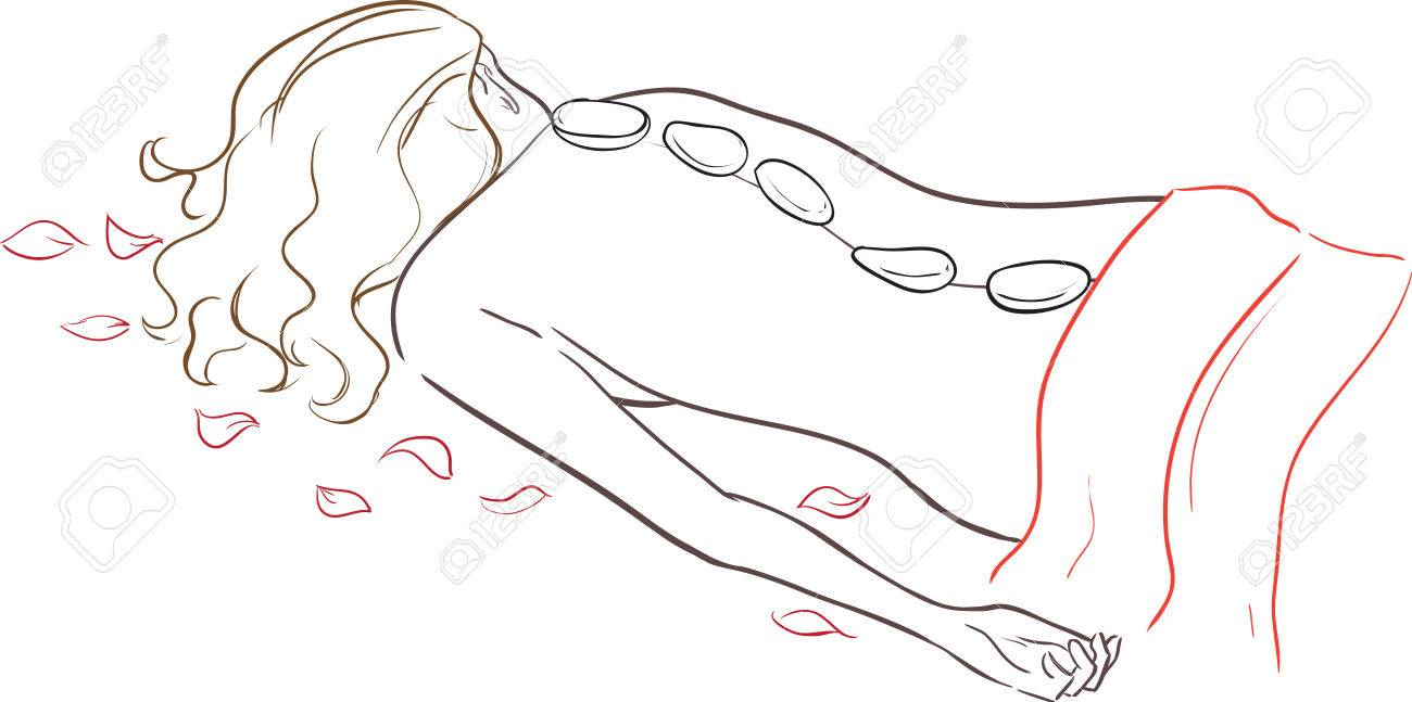 Beautiful graceful slender woman receiving a therapy with hot stones in spa center over white  isolated vector cartoon Stock Vector - 22964930