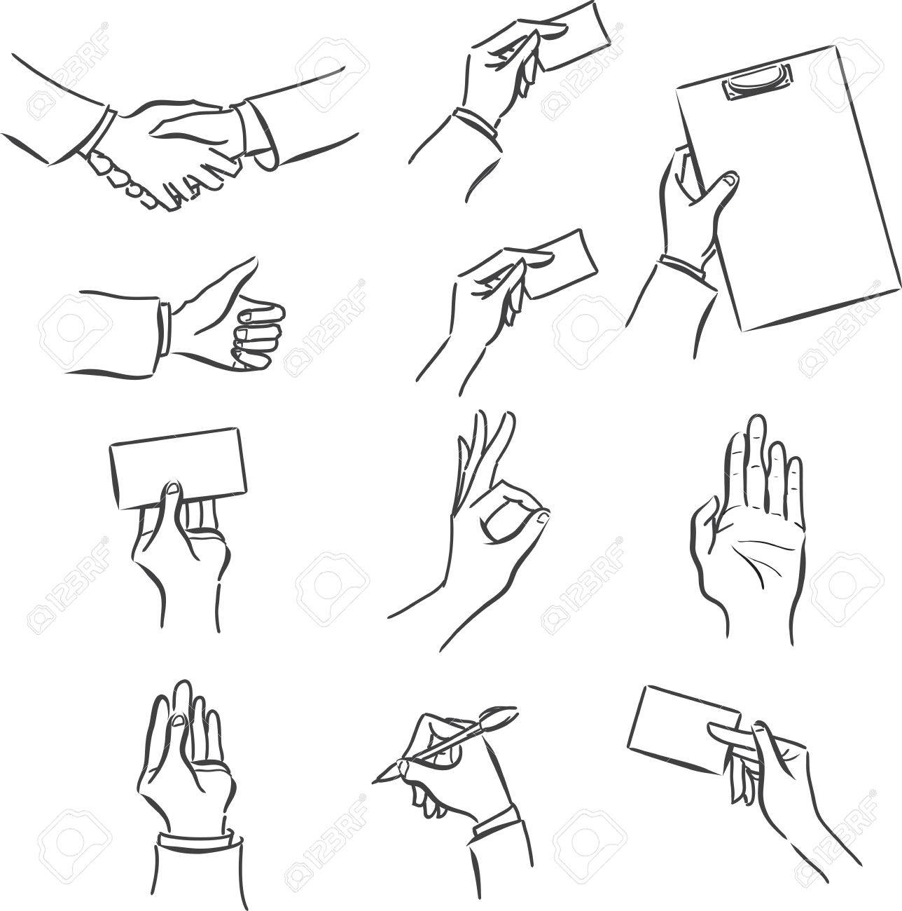 Vector Monochrome Set Business Of Symbols With A Man\'s Hand ...