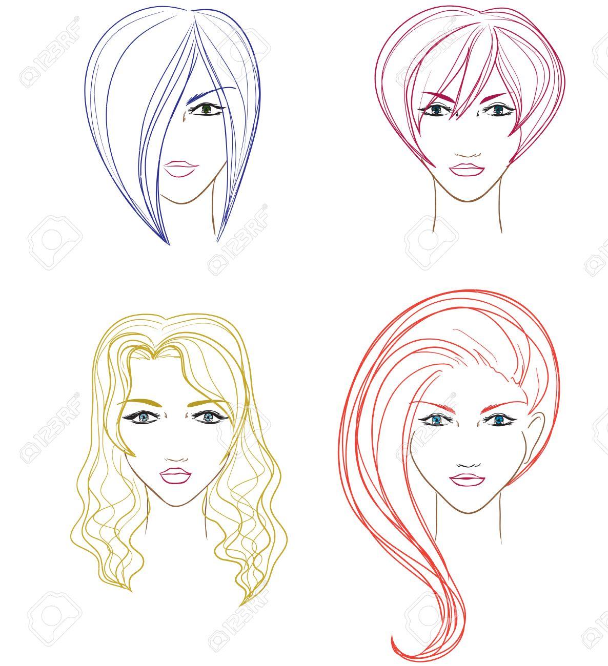 Conjunto De Rostros De Mujer De Peluquería Vector De Dibujos