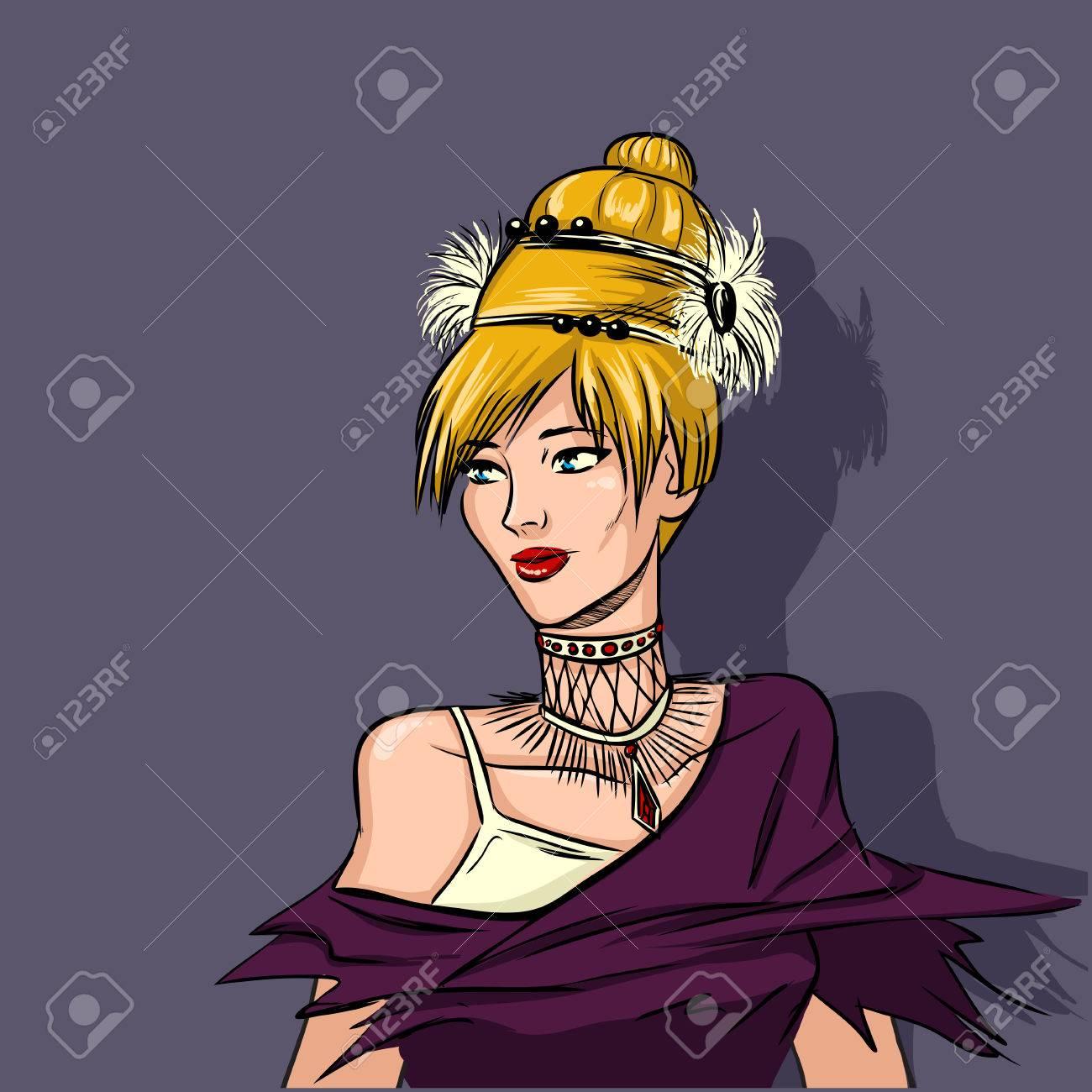 Jeune Femme Blonde En Robe De Soiree Avec La Partie Extravagante