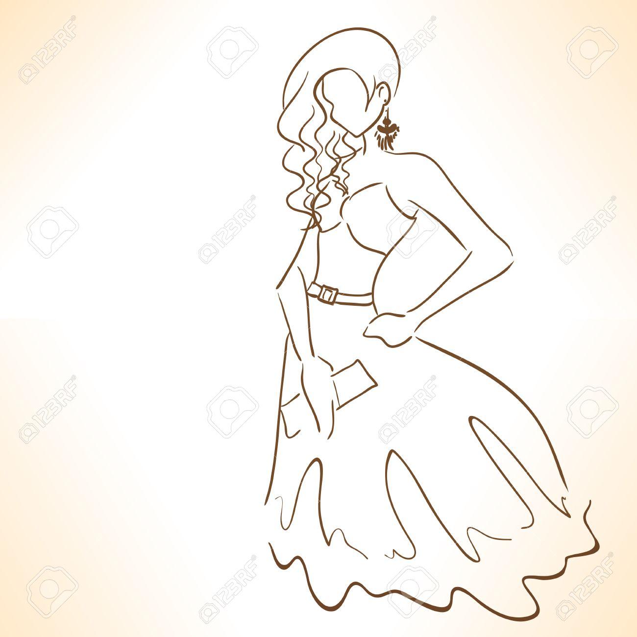 Banque d\u0027images , Femme stylisée symbolique dans la robe de soirée dessin  de lignes.
