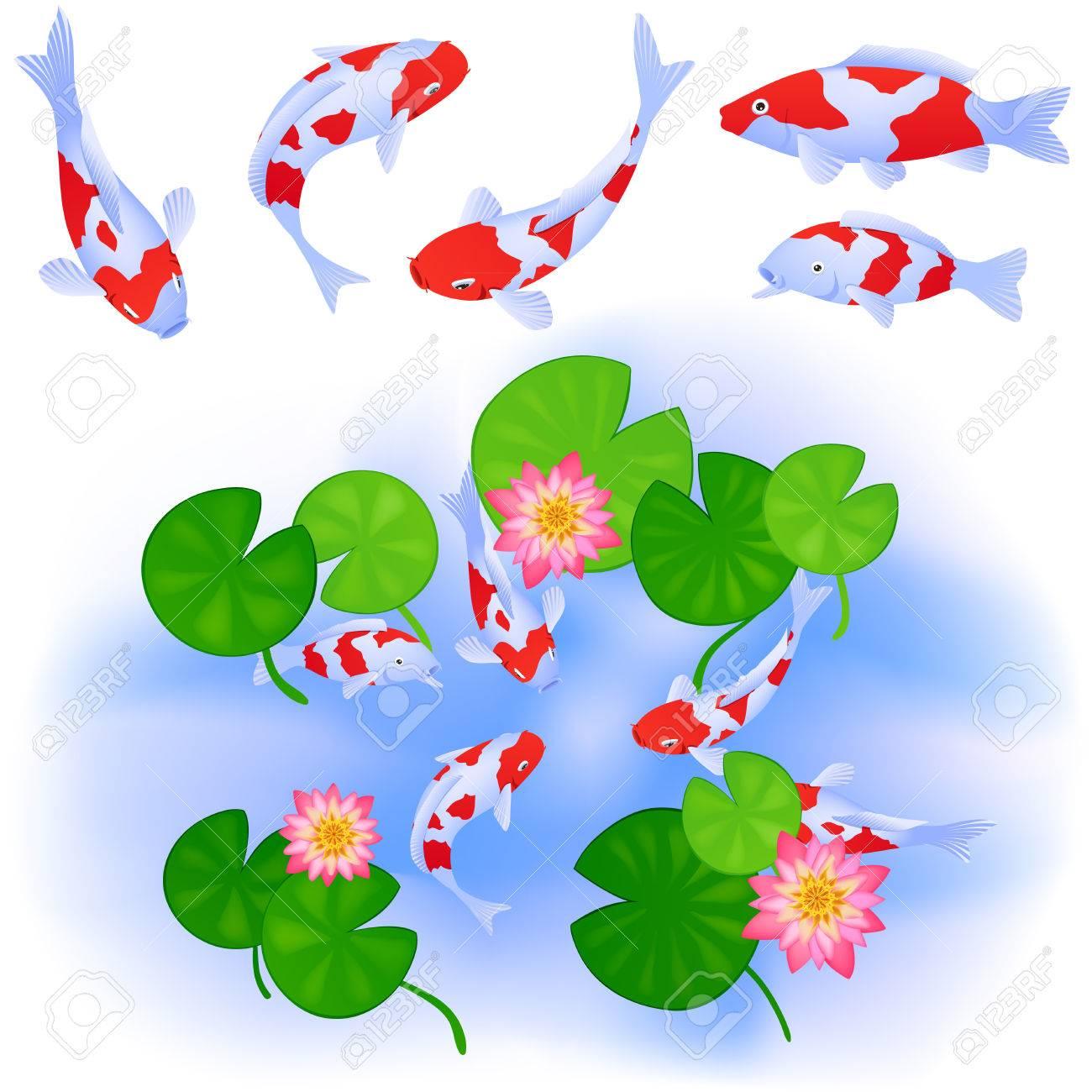 Dessin Japonais Carpe Koi thèmes japonais ou chinois. carpes koi nager dans l'étang clair avec