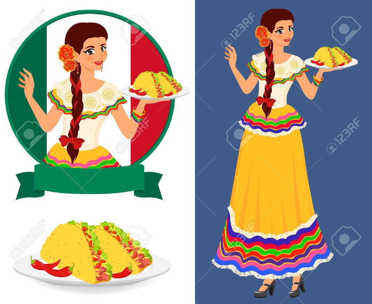 Camarera bonita joven sirve platos con comida mexicana clásica - taco. Chica lleva vestido nacional étnico. Ella es buena anfitriona y tiene hermosa sonrisa. Objetos vectoriales de colores aislados. Foto de archivo - 34516487