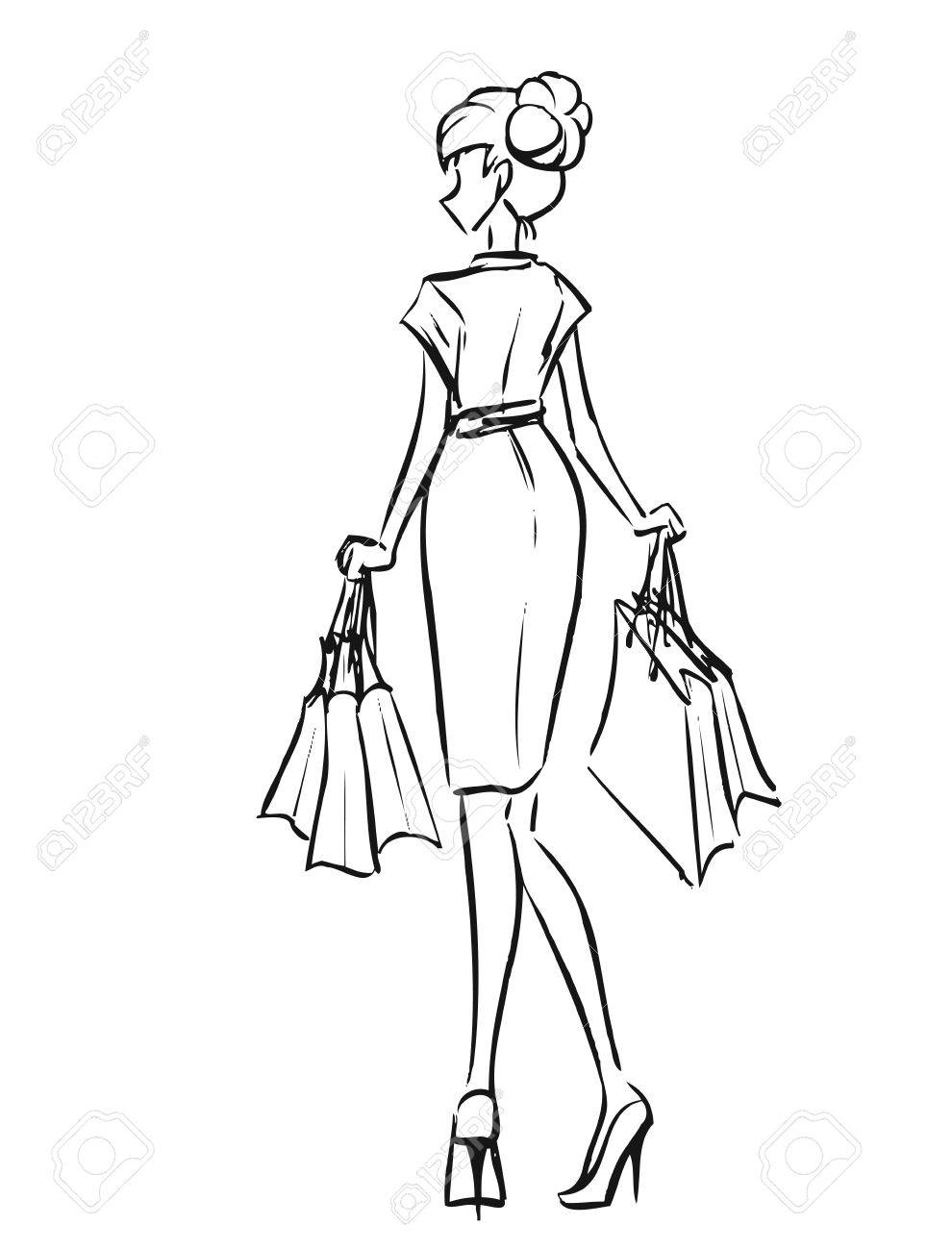Dessin Shopping young slender woman in short dress after shopping. girl holds