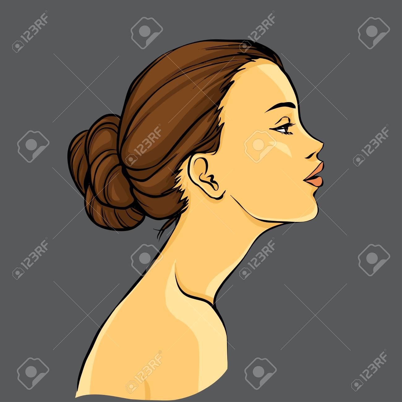 Profil De La Belle Jeune Femme Avec Un Chignon Vecteur De Dessin