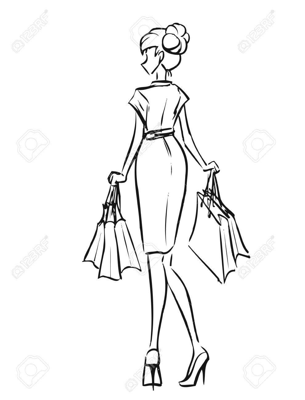 Jeune Femme Mince En Robe Courte Apres Le Shopping Fille Detient