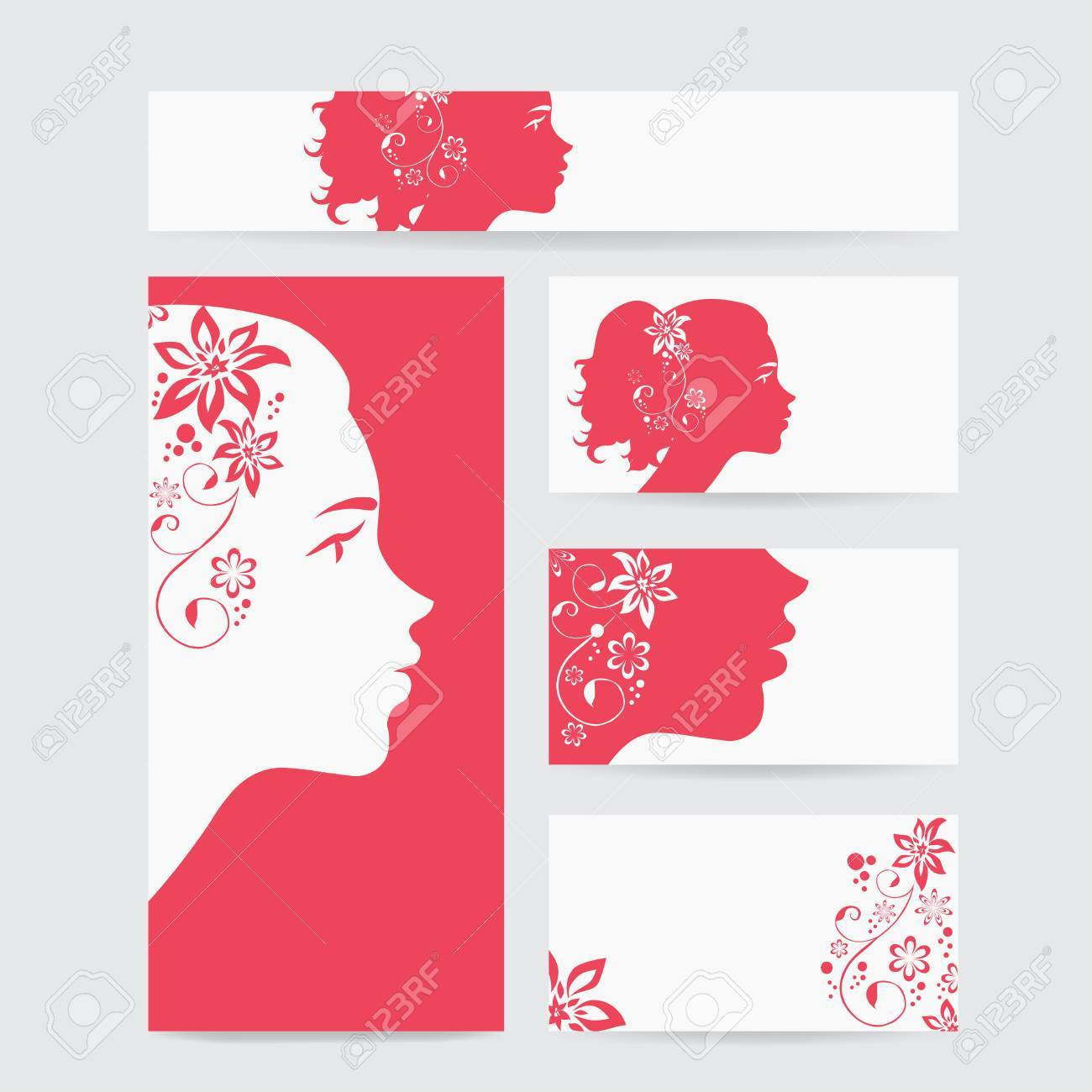 Business Cards With Woman Faces For Your Design. Cosmetics Shop ...