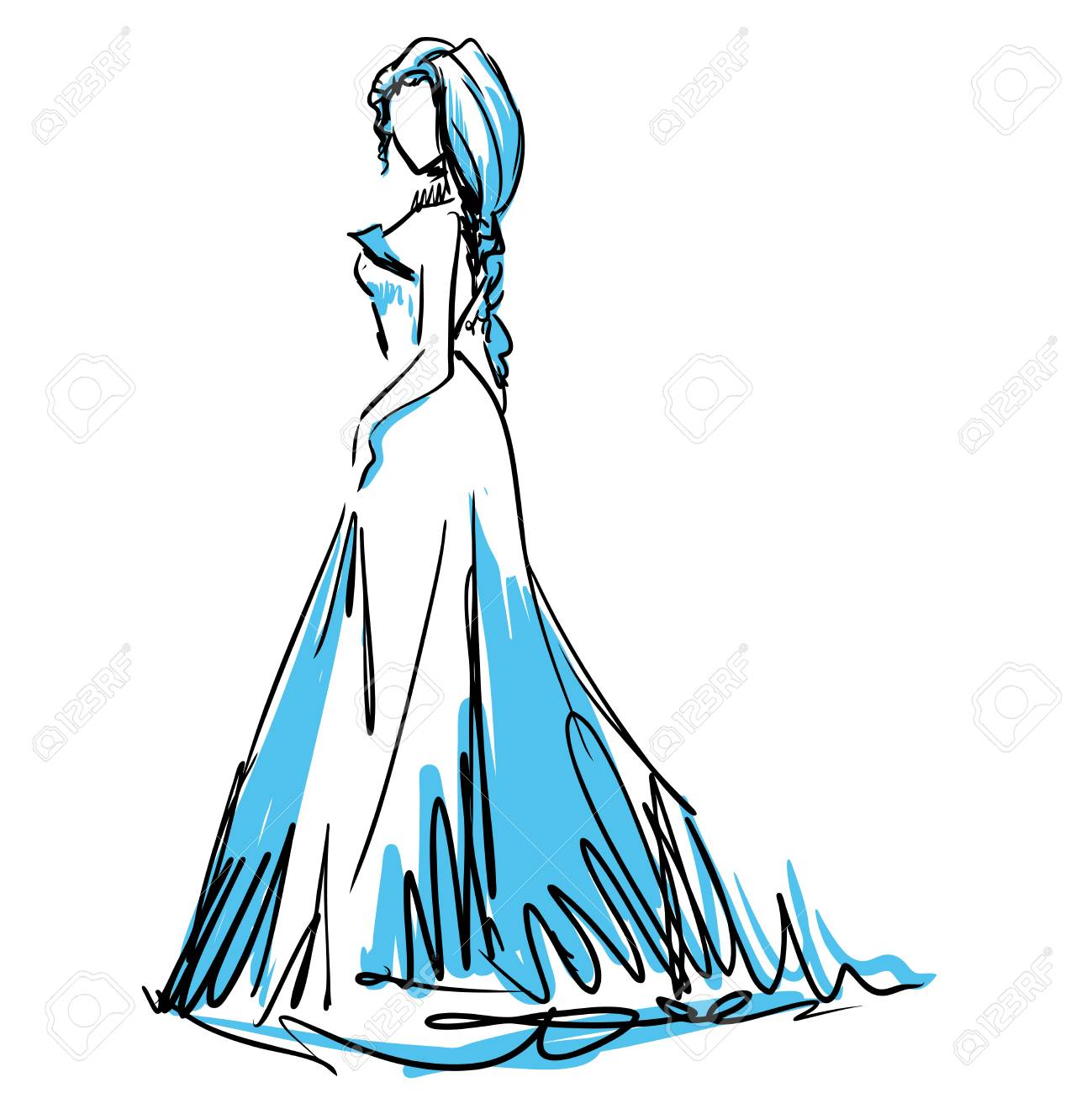 Slender Elegant Girl In Evening Dress. Fashion Sketch, Scribble ...