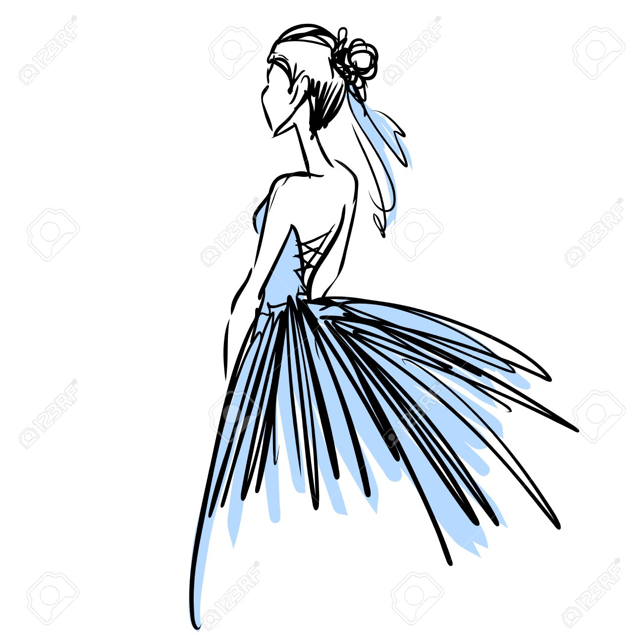 Slender Elegant Ballerina In Evening Dress. Fashion Sketch, Scribble ...