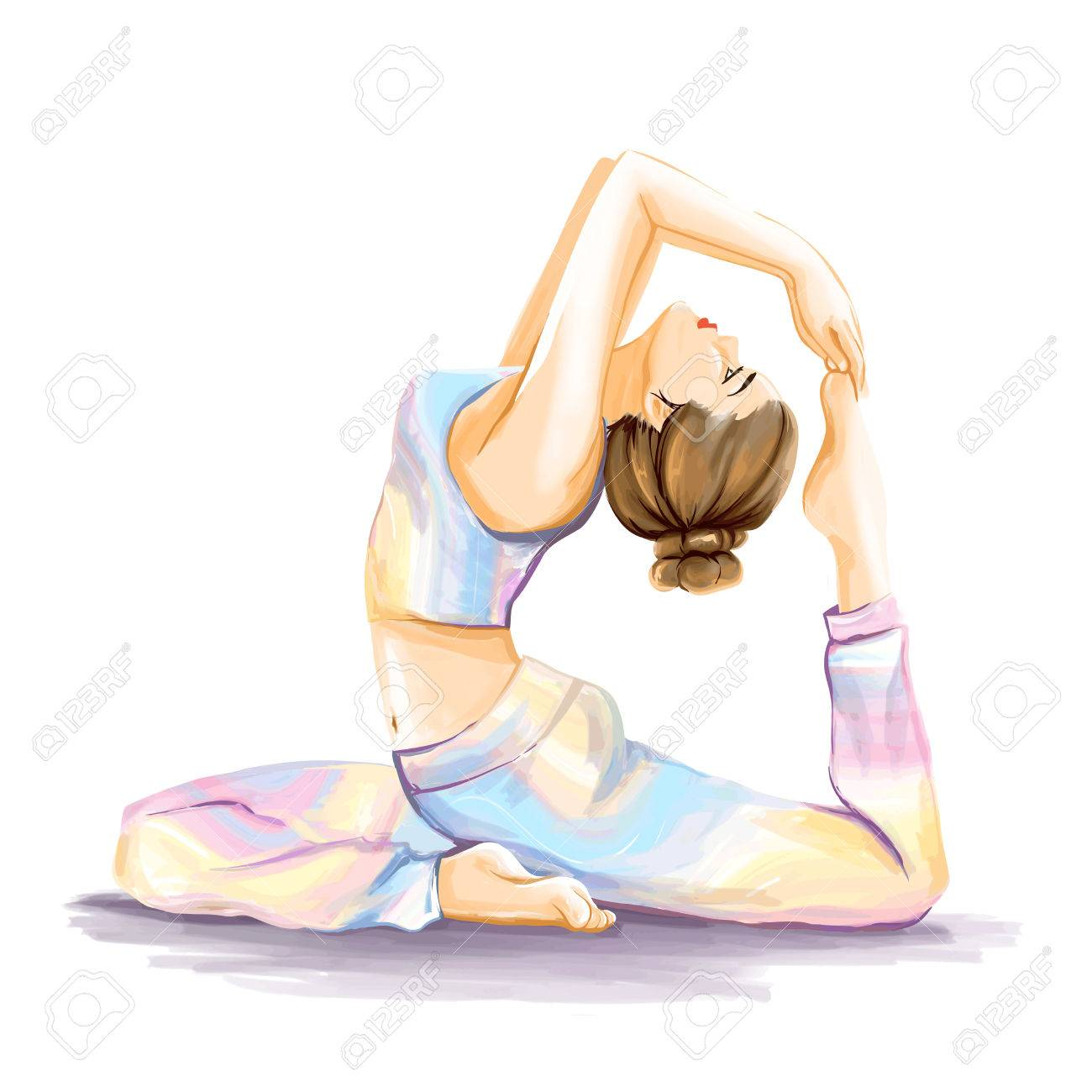 Young Flexy Sports Girl Does Yoga Exercise For Improvement Of