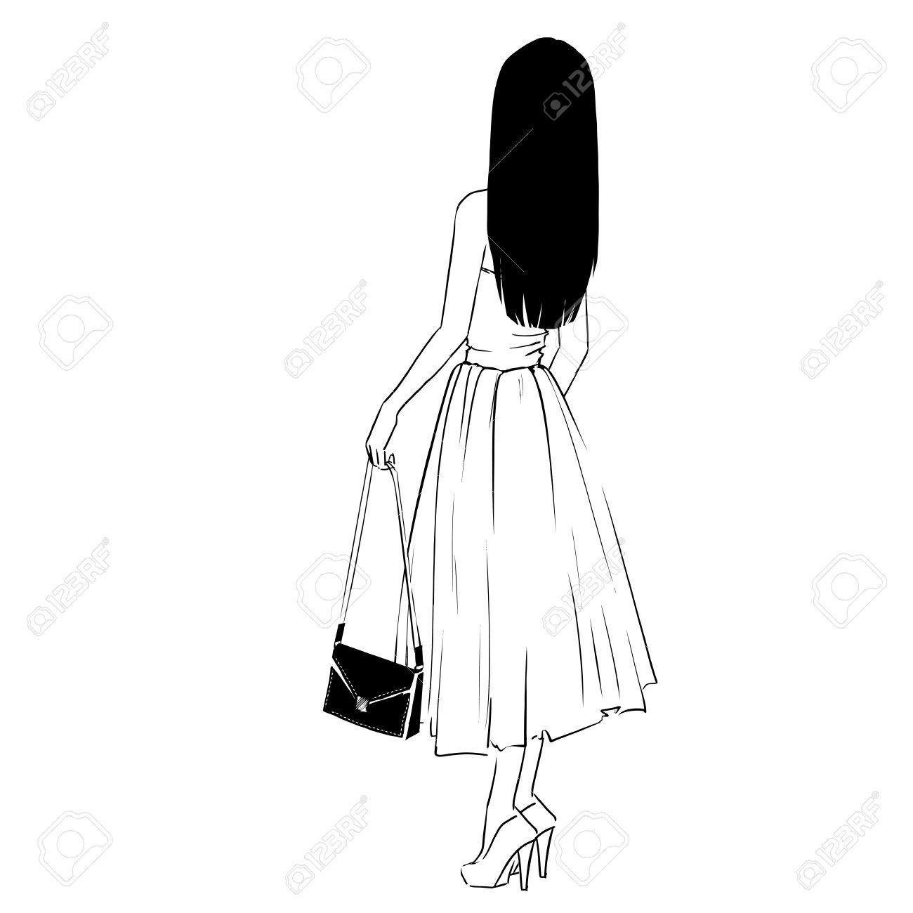 Femme Elegante En Robe De Soiree Avec Un Embrayage Debout Dos