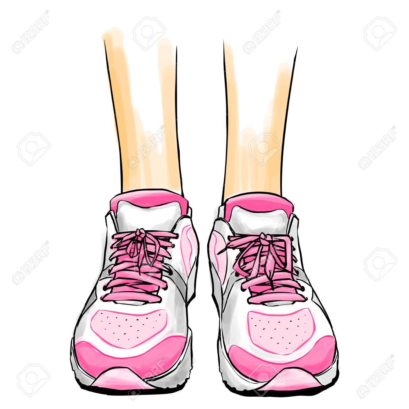 Mujeres Con Deporte Las Activan En De Ilustración RosaZapatos Color El Estilo Los CómicsVector Zapatillas Que Dibujo Delgadas Piernas 0PkXnZwON8