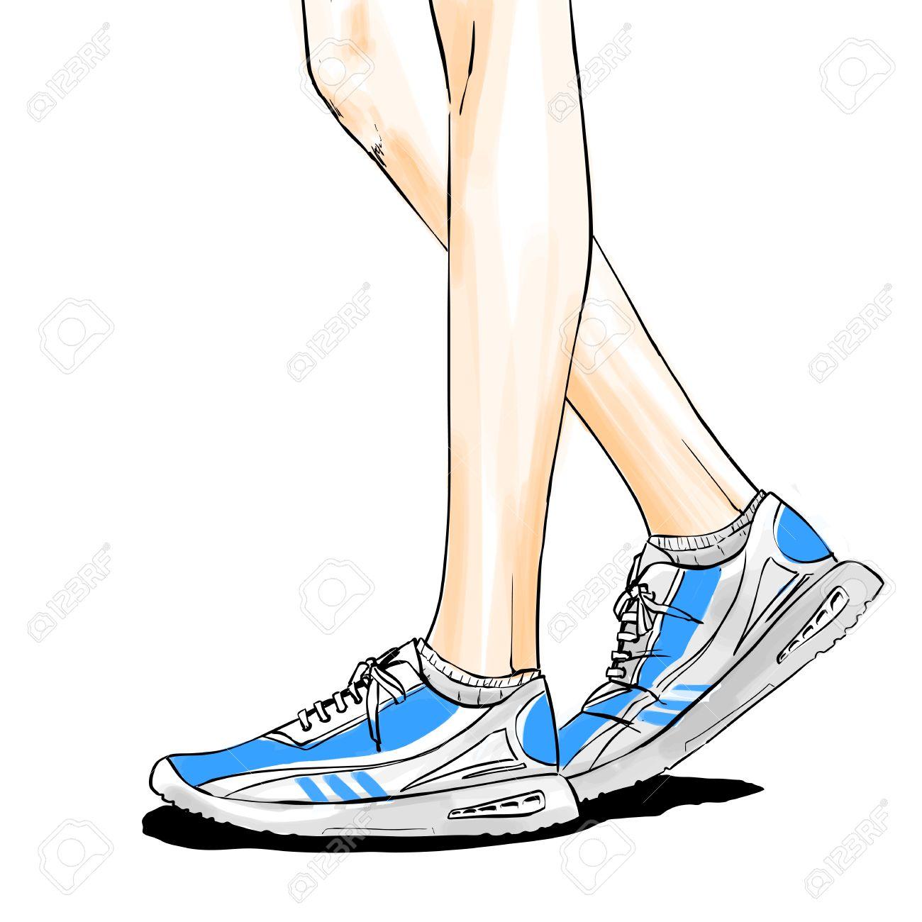 Mujer CorrerQue Dibujo Los Tipo De Las Para Zapatos Activan Ilustración Estilo Delgadas La Piernas En Con CómicsVector El Color rxhQdtsBCo