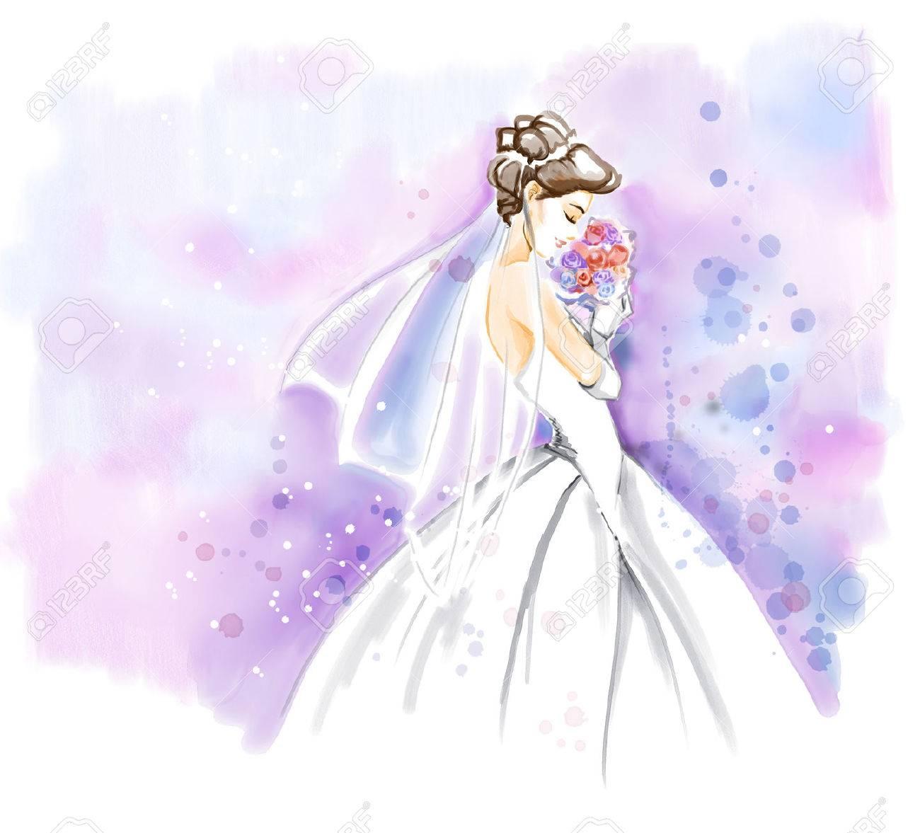 美しい長いウェディング ドレスの花の花束とエレガントな若い花嫁。水彩の招待状。フリーハンドの水彩絵。