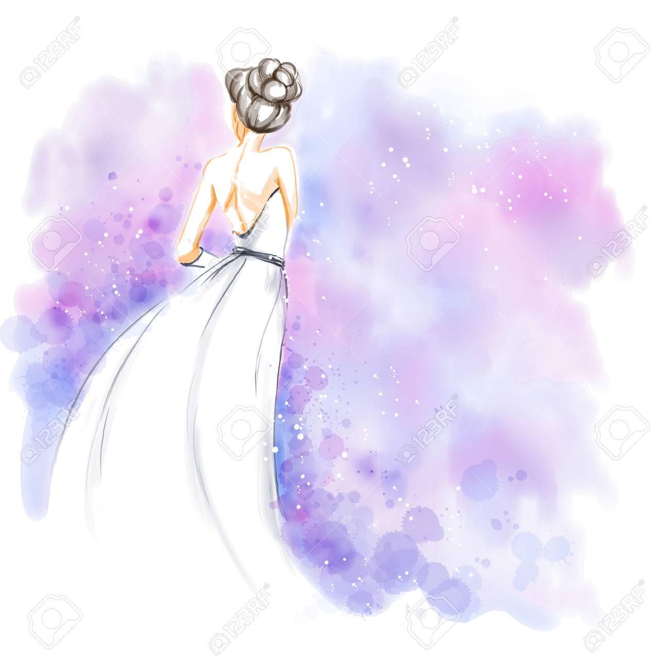 Novia Elegante Joven Con El Ramo De Flores En Hermoso Vestido De ...