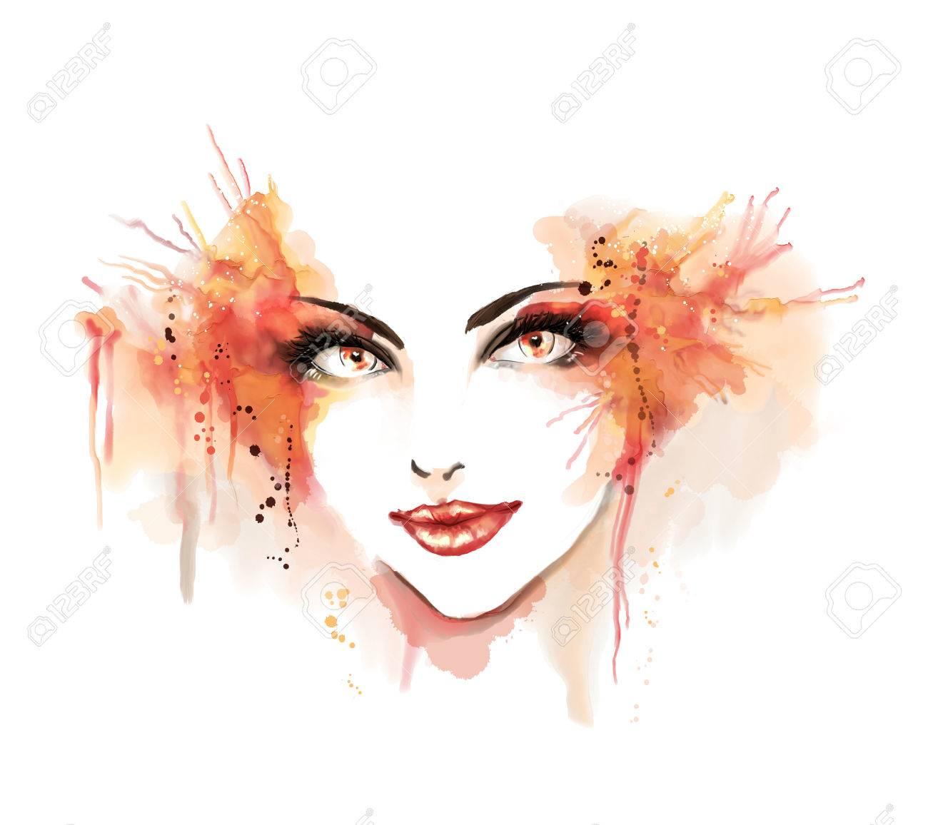 水彩のファッションのイラスト女の子の美しい肖像画フリーハンドの