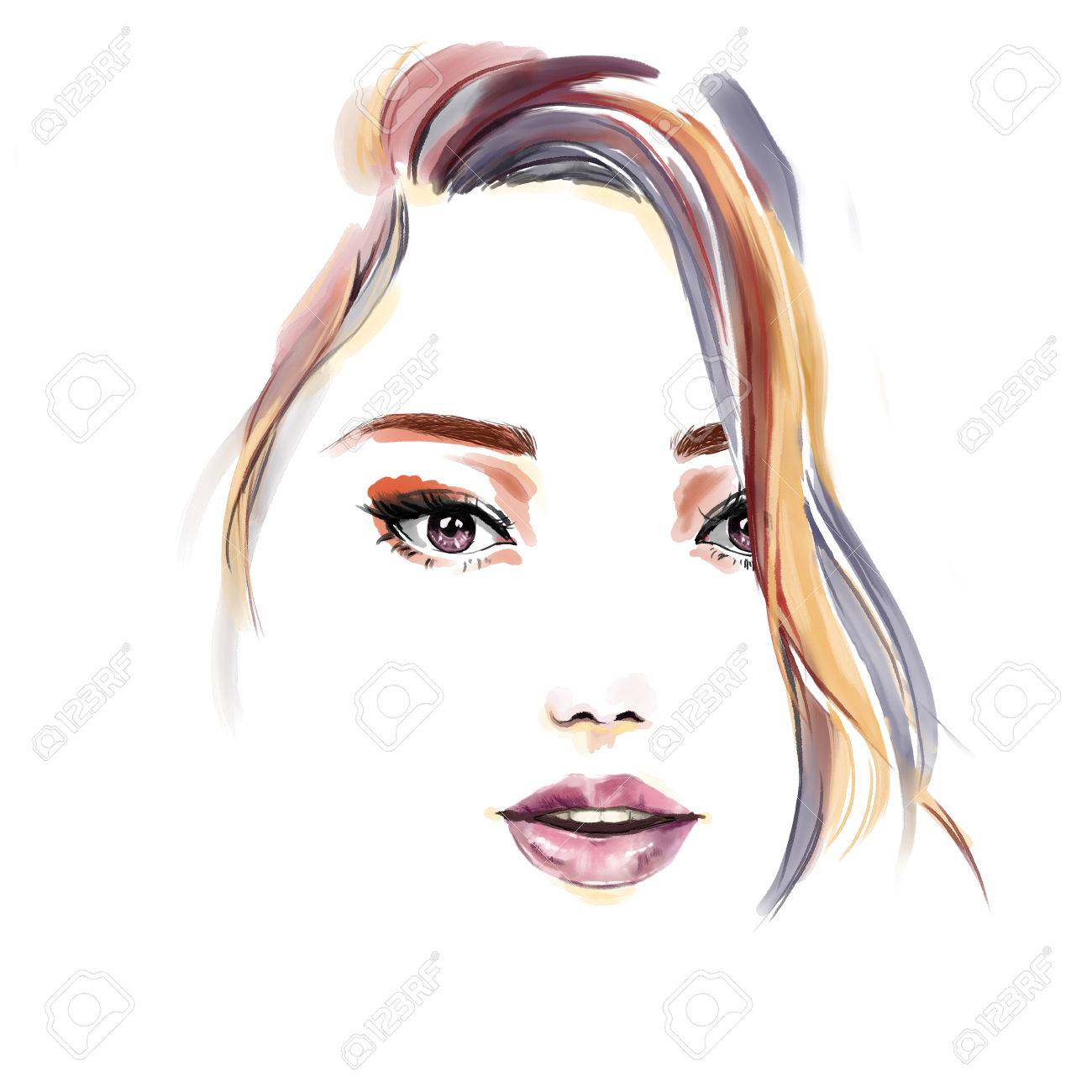 Watercolor Fashion Illustration Beautiful Portrait Of Girl Drawing