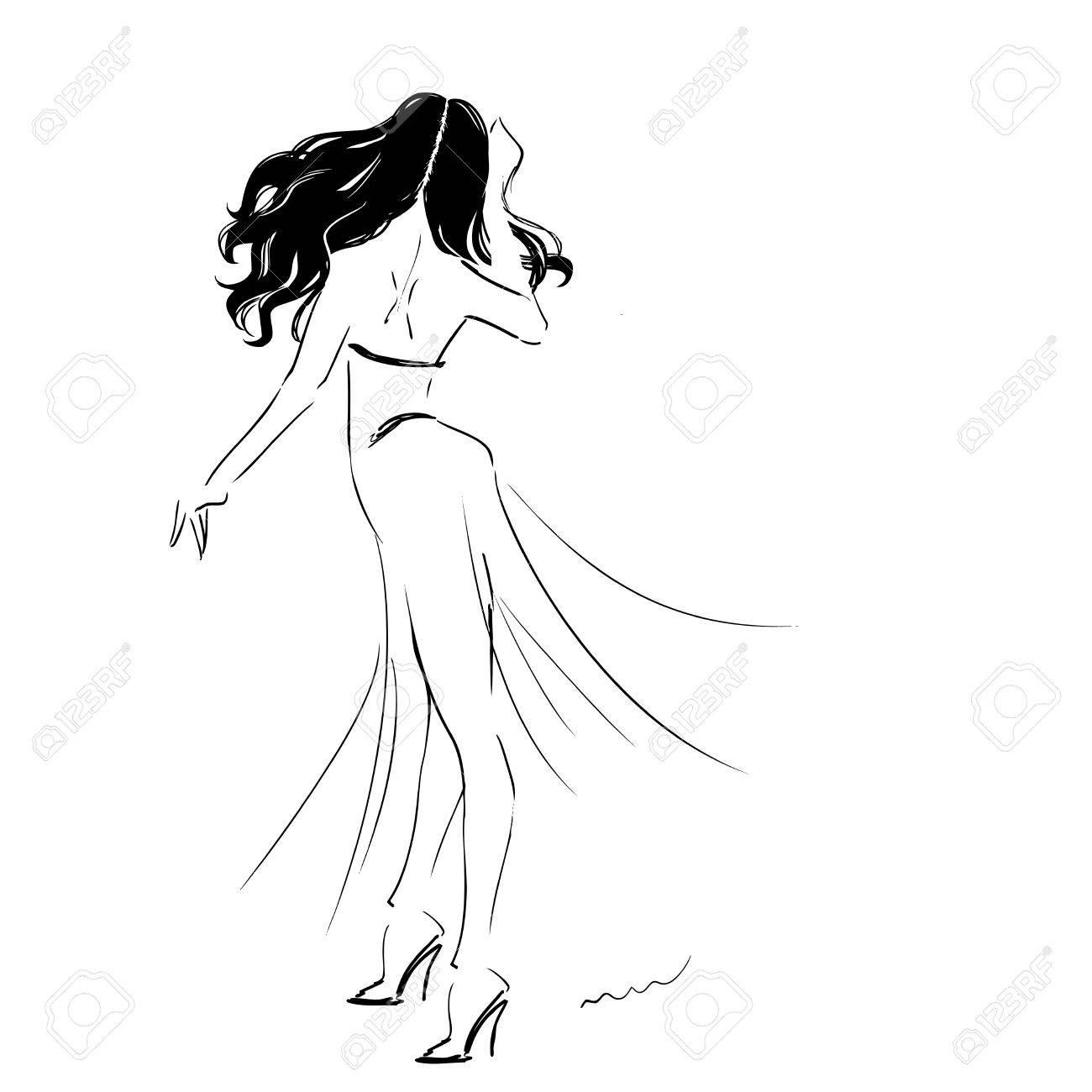 写真素材 , 長いドレスを着て踊る女性のシルエット。女の子ダンス情熱的なスペイン語 flamenko。情熱と動き。ベクター手書きイラスト。