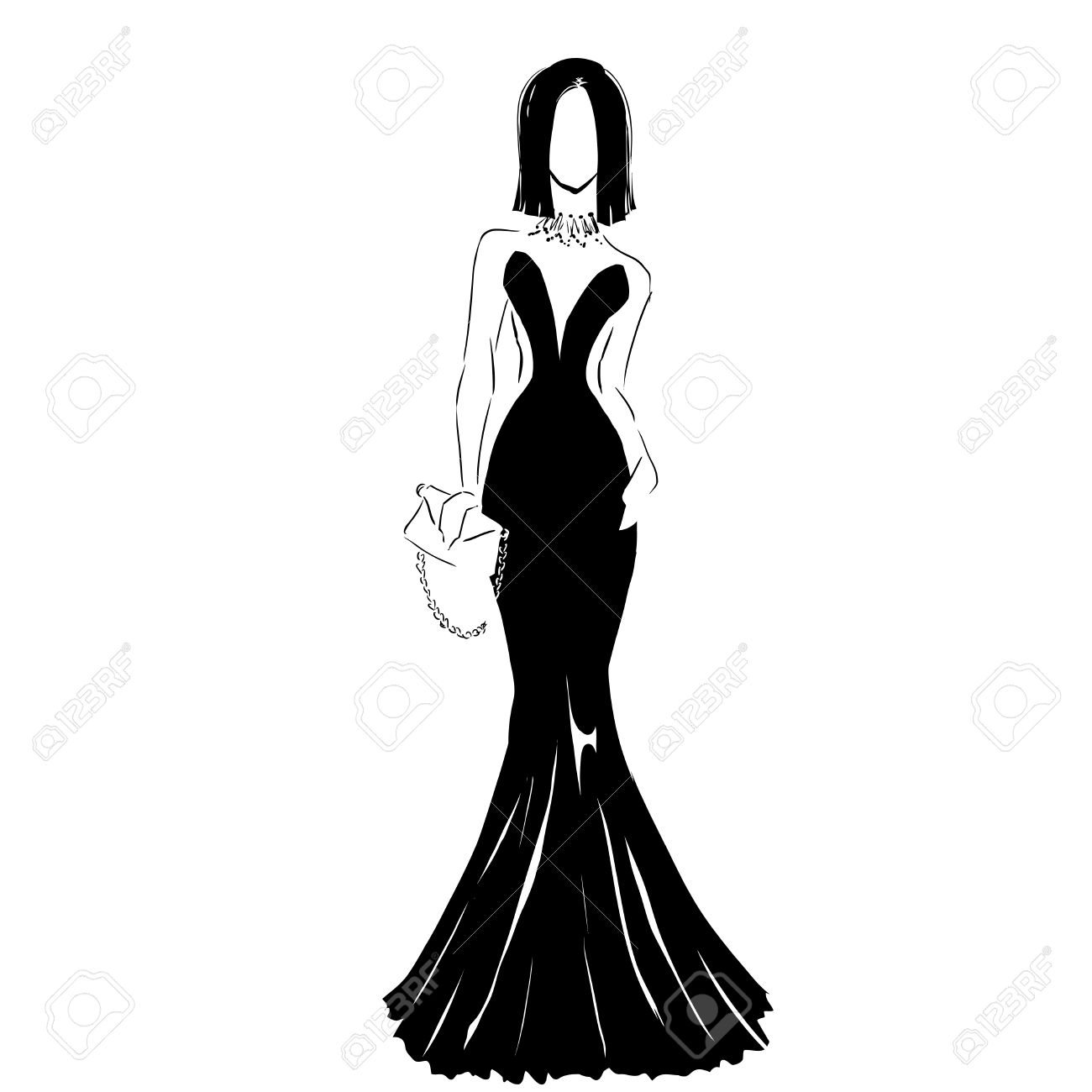 Line silhouette of young slender woman in long beautiful evening dress with clutch fashion hand