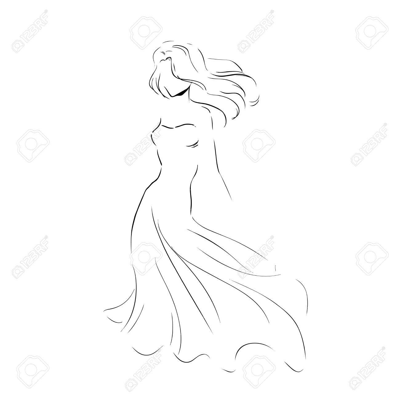 ドレス モノクロ イラスト