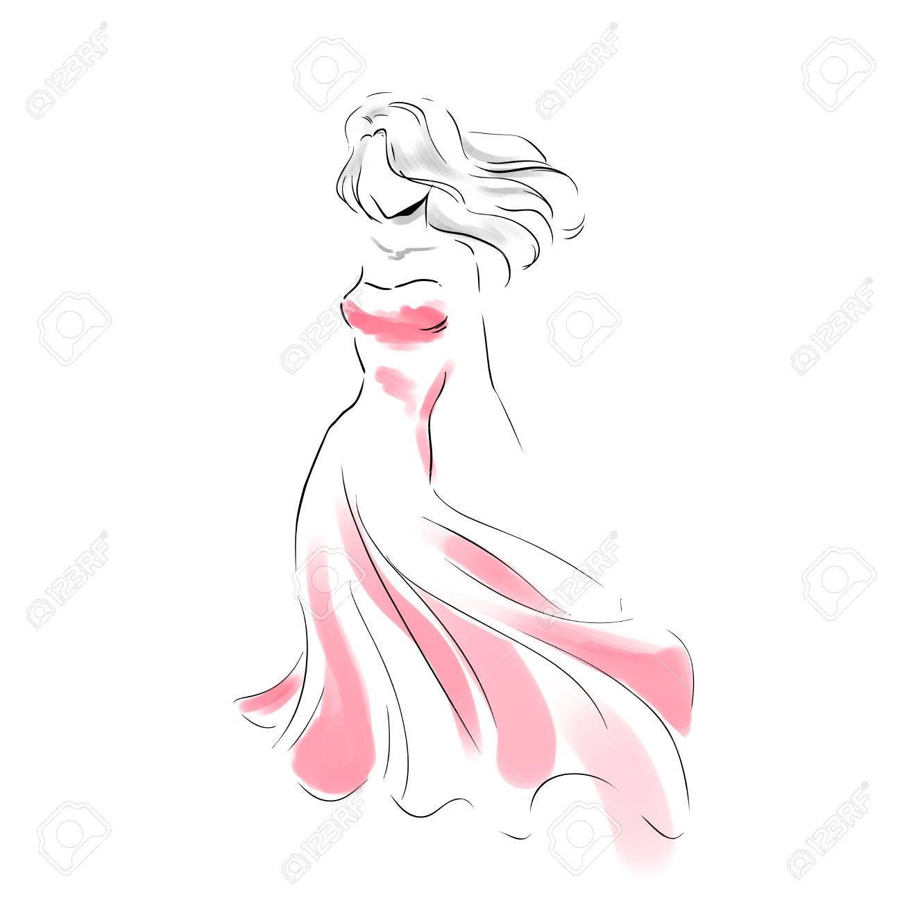 Ligne Silhouette De Jeune Femme Mince Dans Une Longue Et Belle Robe