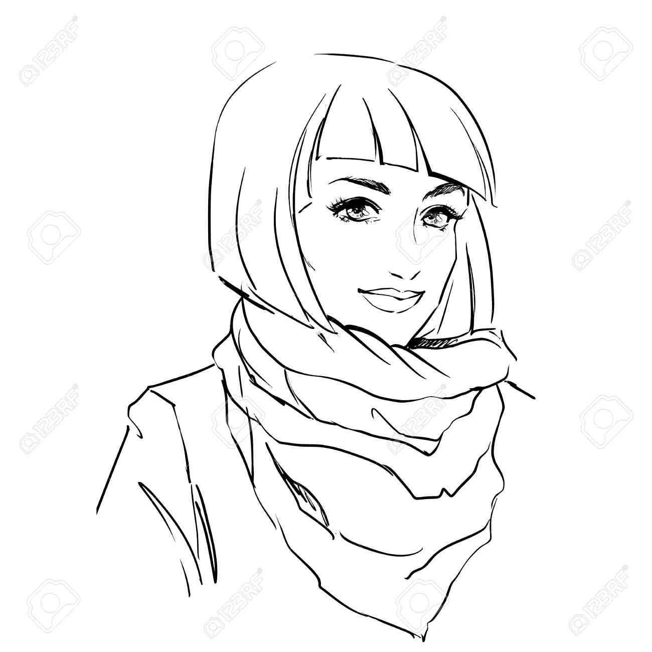 6a208a6e960 Fashionable stylish woman in winter clothes. She is wearing warm parka and  big scarf on