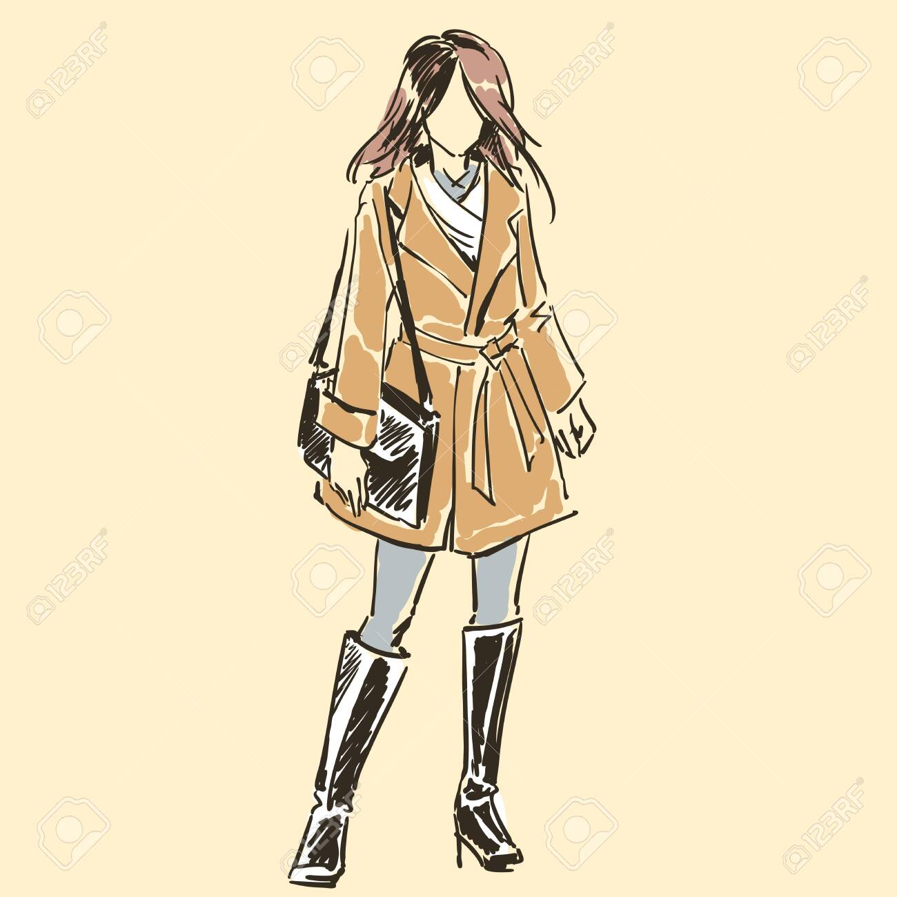 Sketch of beautiful slim elegant woman in fashion summer clothes with female handbag. Contour silhouette. Vector illustration. Scribble hand drawing by black lines, freehand. - 137569049
