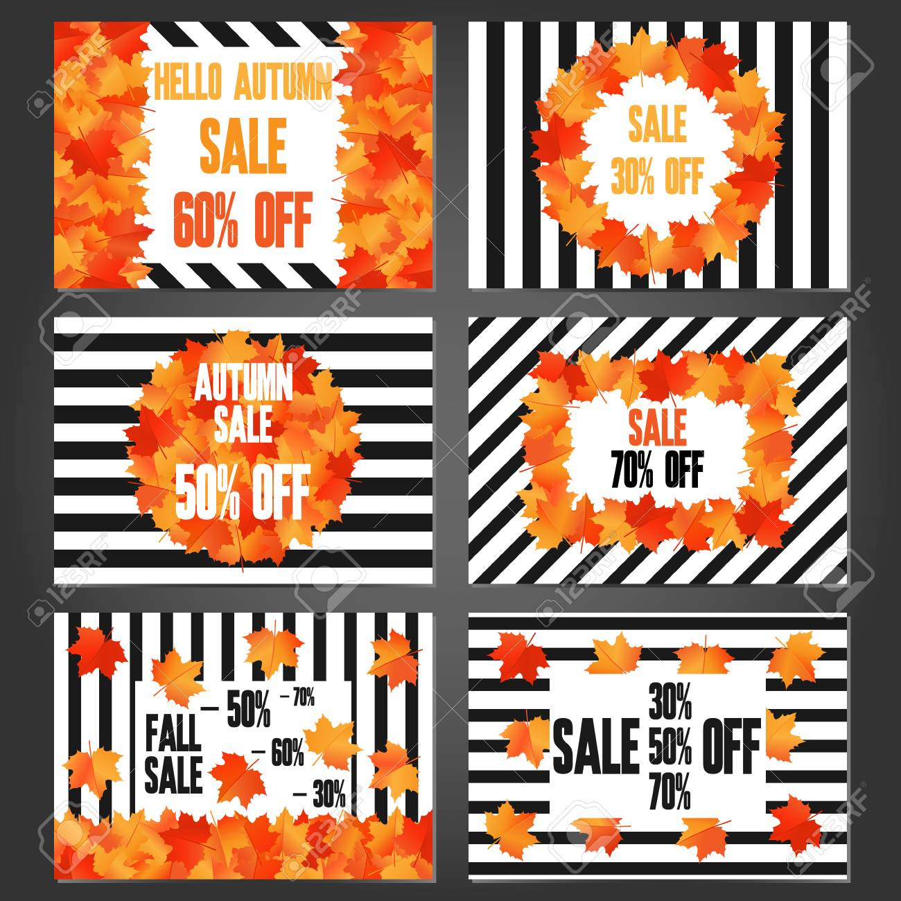 Set Of Autumn Sale Banners And Promotional Flyer Templates