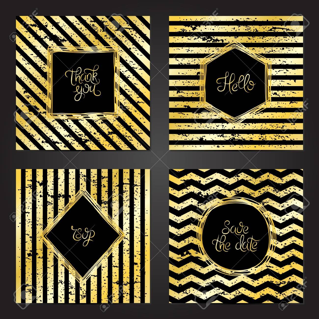 Colección De 4 Plantillas De Tarjetas Vintage En Colores Dorado Y Negro Y Con Un Marco Para La Boda El Matrimonio Guardar Las Tarjetas De Fecha