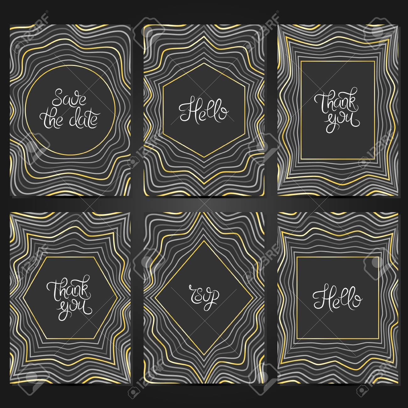 Collection Of 6 Vintage Card Templates With Geometric Frame ...