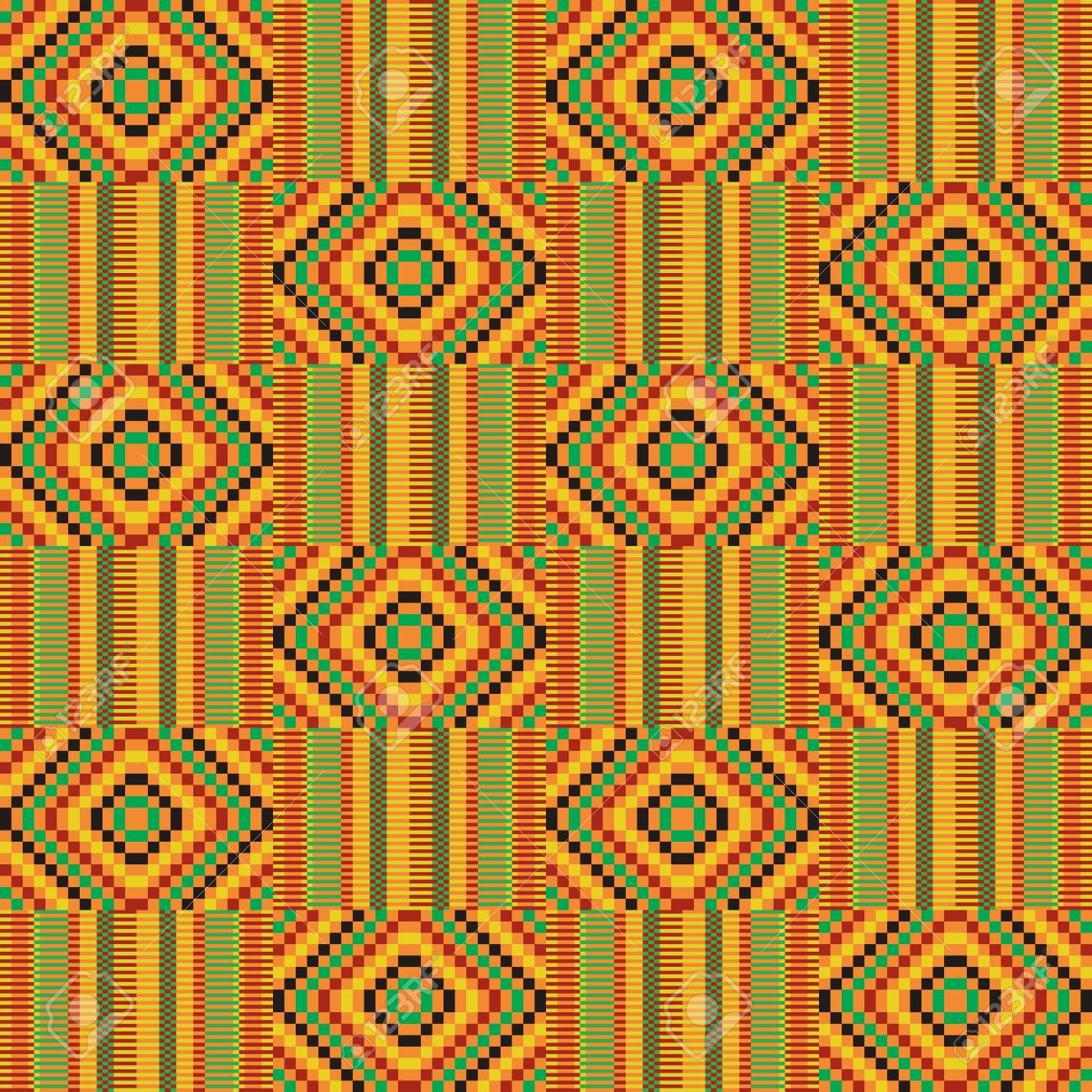 African textile fabric, cloth kente. Ethnic seamless pattern. - 104390759