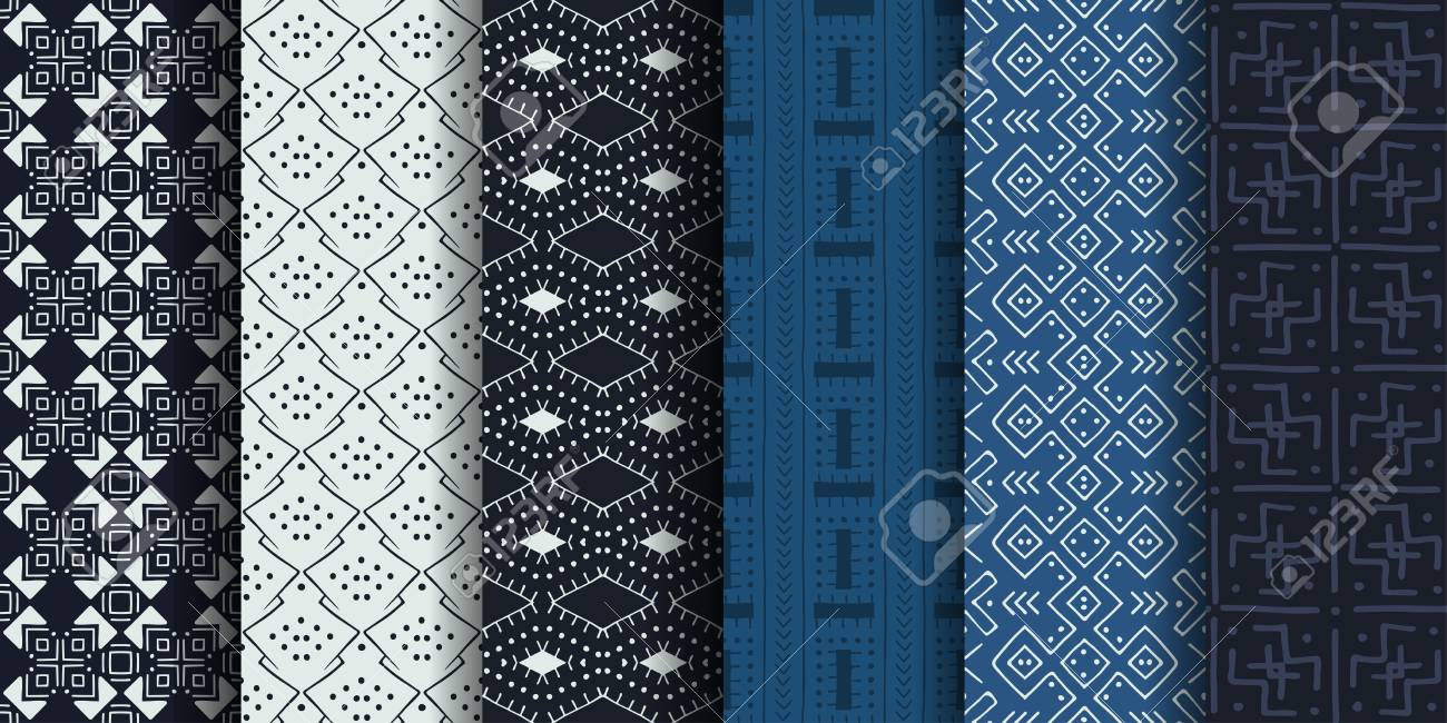 Set of ethnic seamless patterns. African textile. Vector tribal art. - 126314506