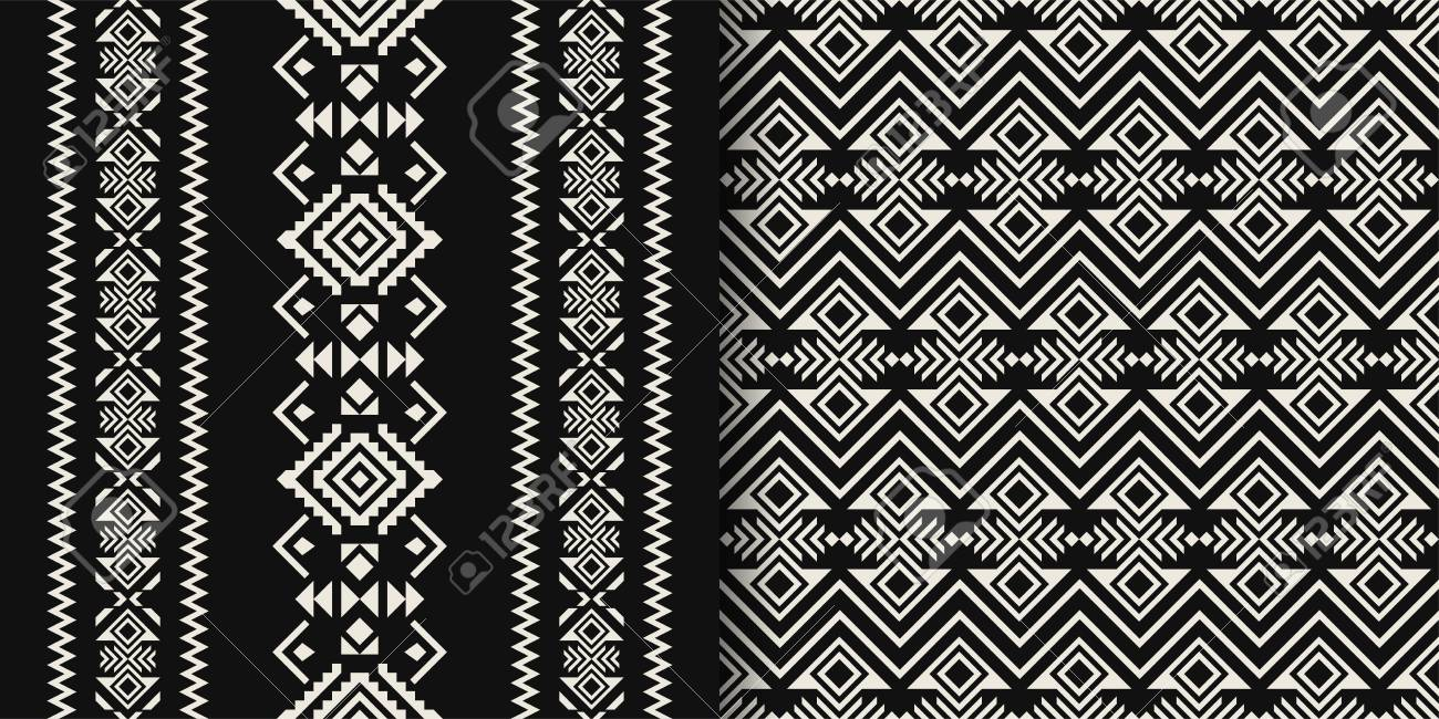 Black and white aztec geometric seamless patterns native american