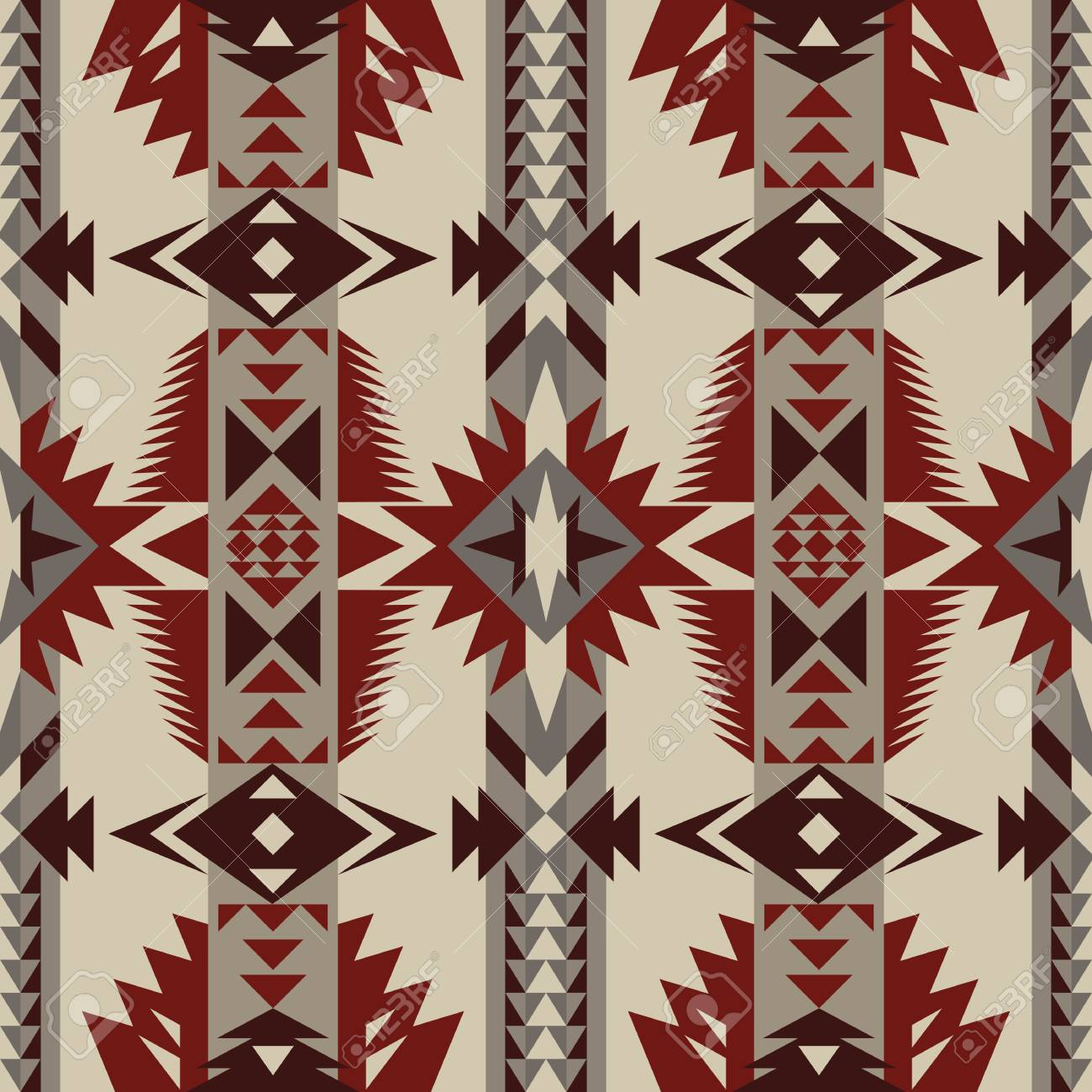 Aztec Geometric Seamless Pattern Native American Indian Southwest Print Ethnic Design Wallpaper Fabric Cover Textile Rug Blanket