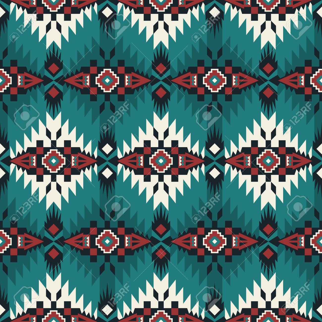 Aztec geometric seamless pattern. Native American, Indian Southwest print. Ethnic design wallpaper, fabric, cover, textile, rug, blanket. - 118997879