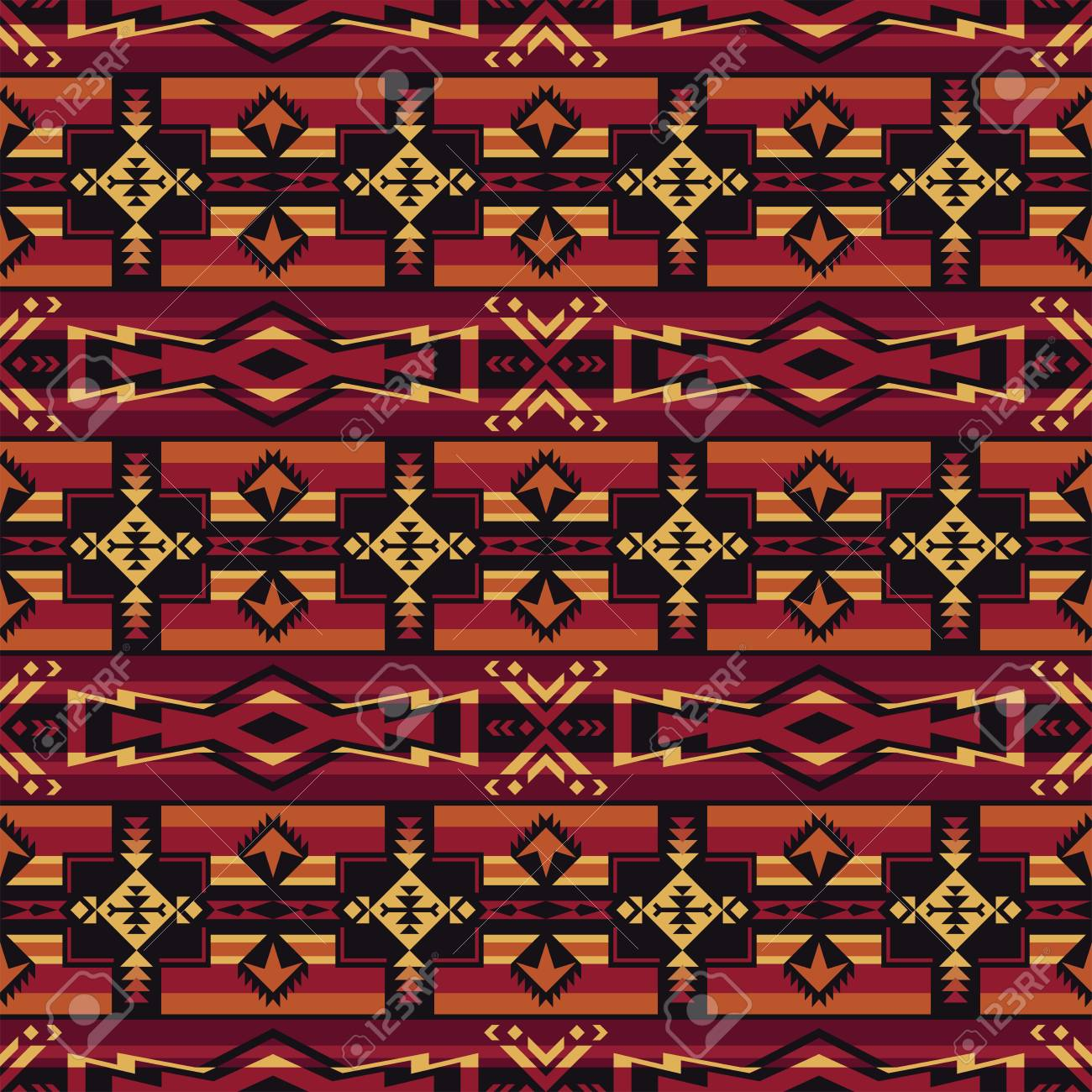 Aztec Geometric Seamless Pattern Native American Indian