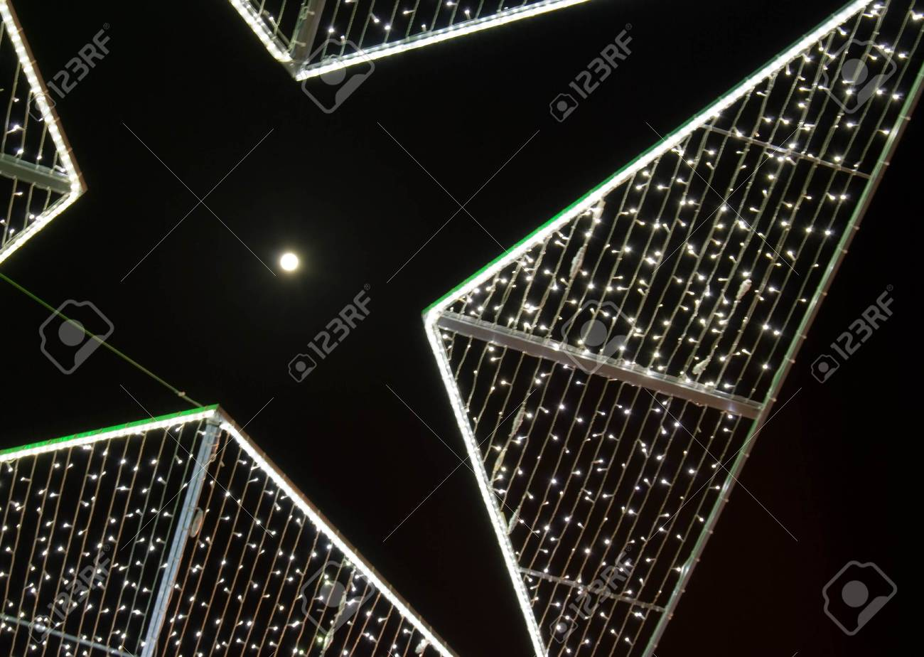 The Moon and Christmas and New Year illumination Stock Photo - 6017642