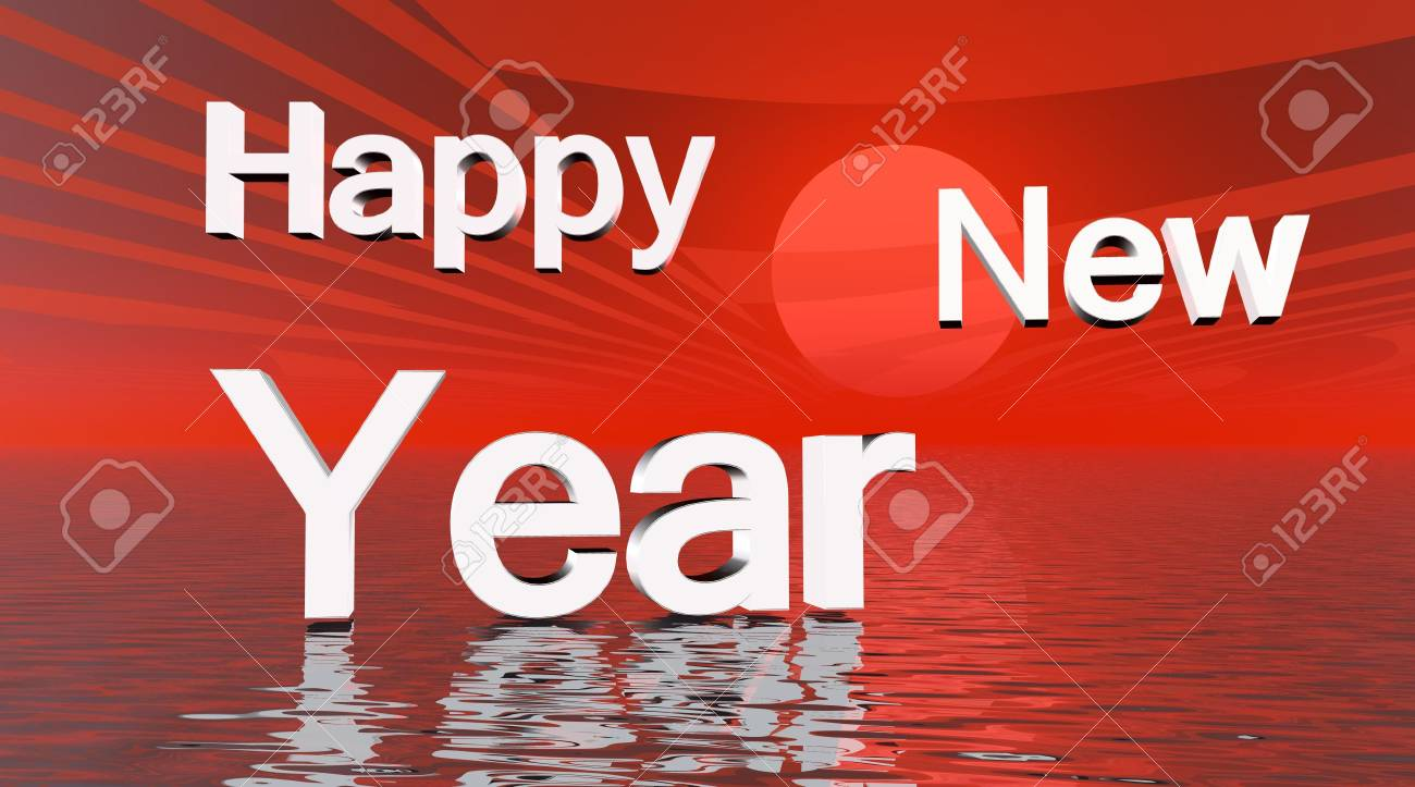 Happy New Year on sunset over the sea background Stock Photo - 5423557