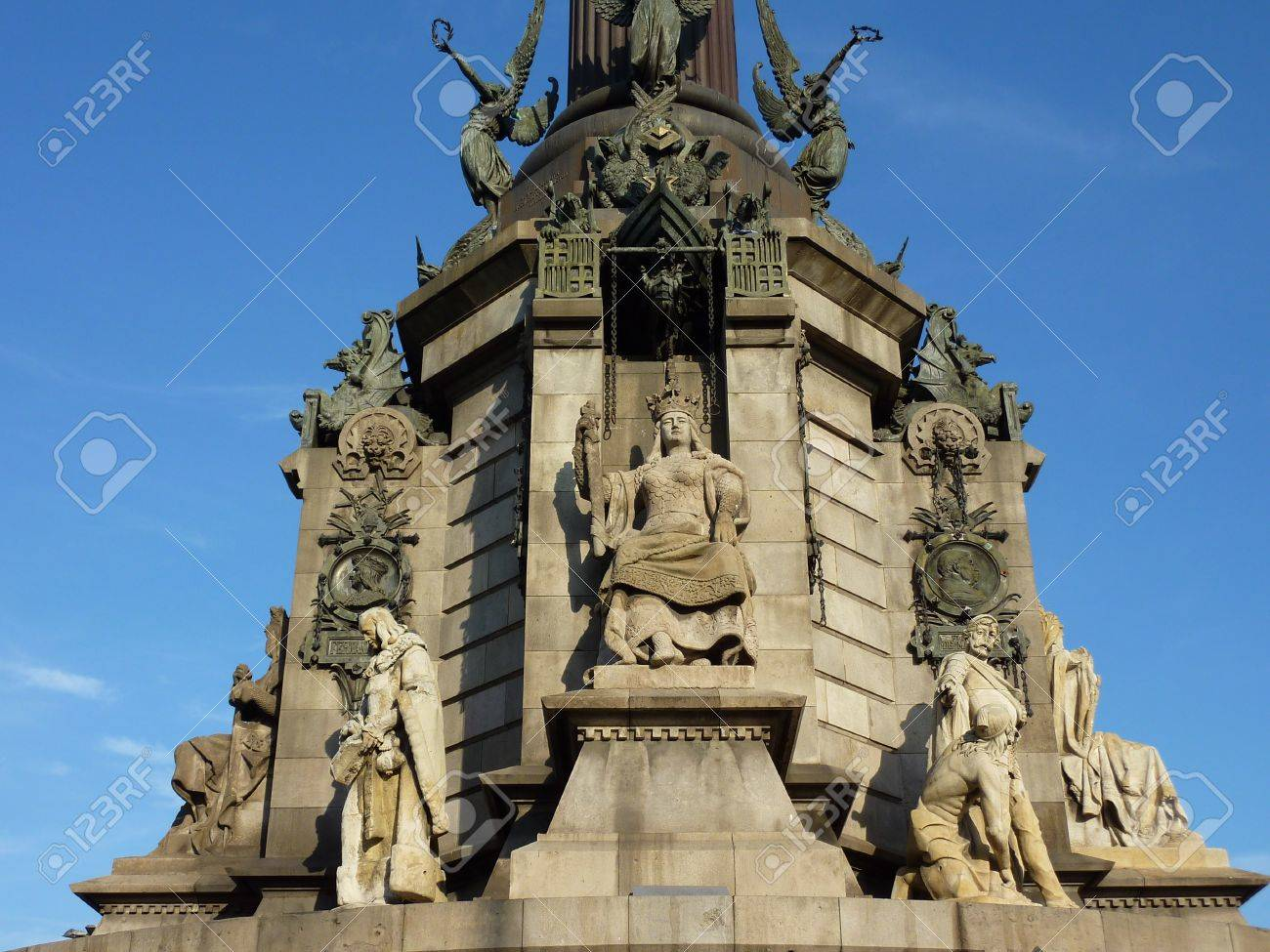 Sculptures at the base of Christopher Columbus memorial, Barcelona, Spain Stock Photo - 8601228